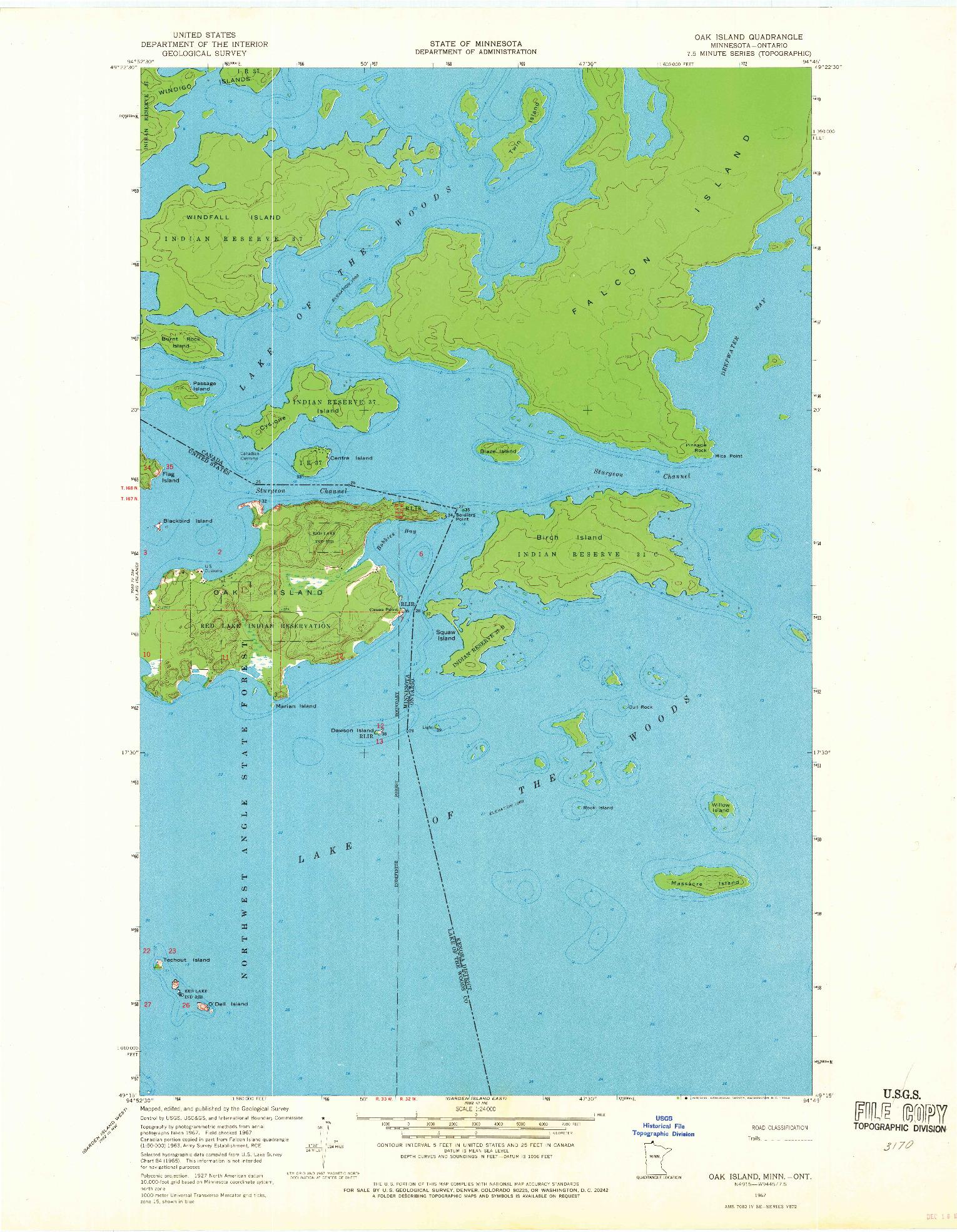 USGS 1:24000-SCALE QUADRANGLE FOR OAK ISLAND, MN 1967