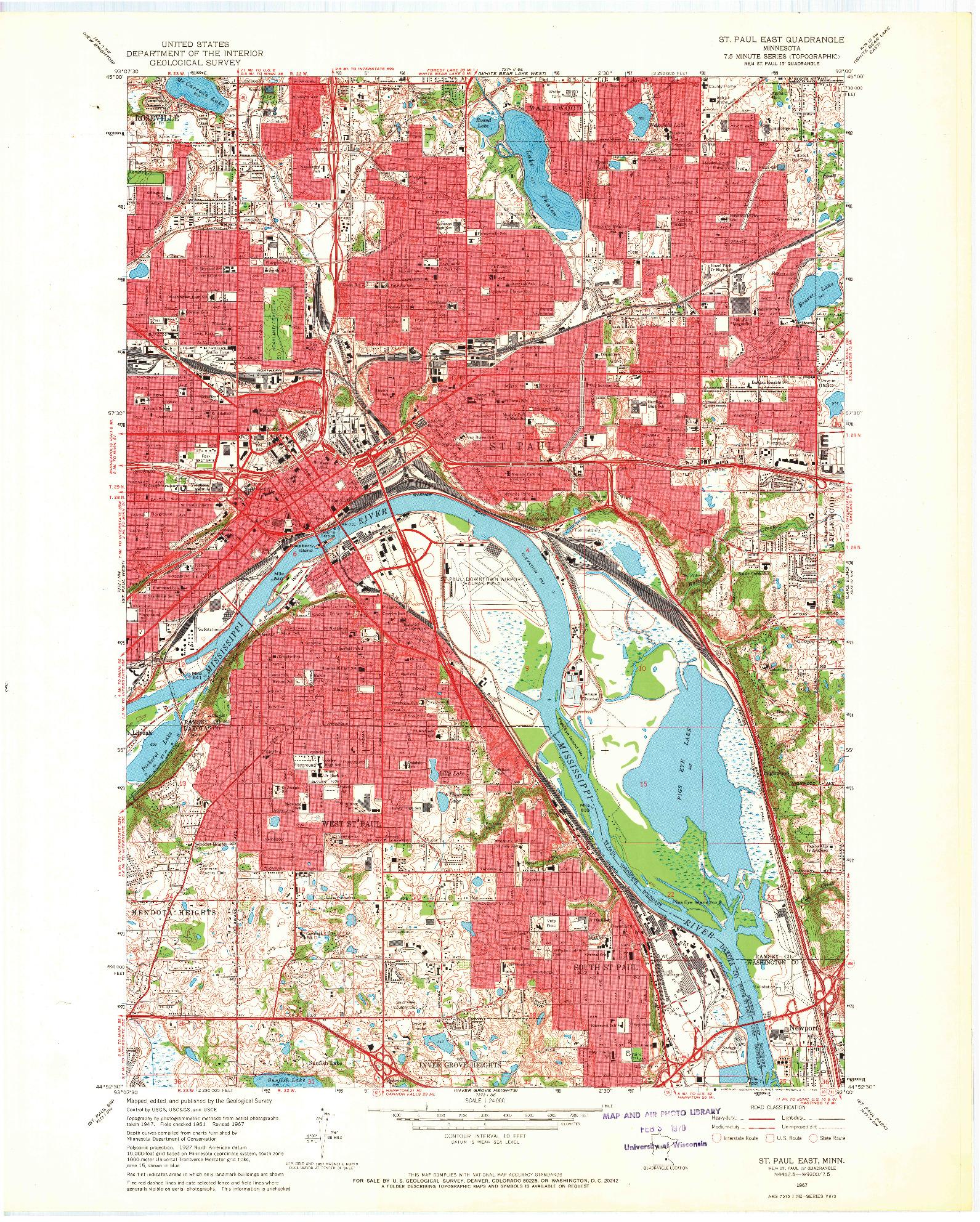 USGS 1:24000-SCALE QUADRANGLE FOR ST. PAUL EAST, MN 1967