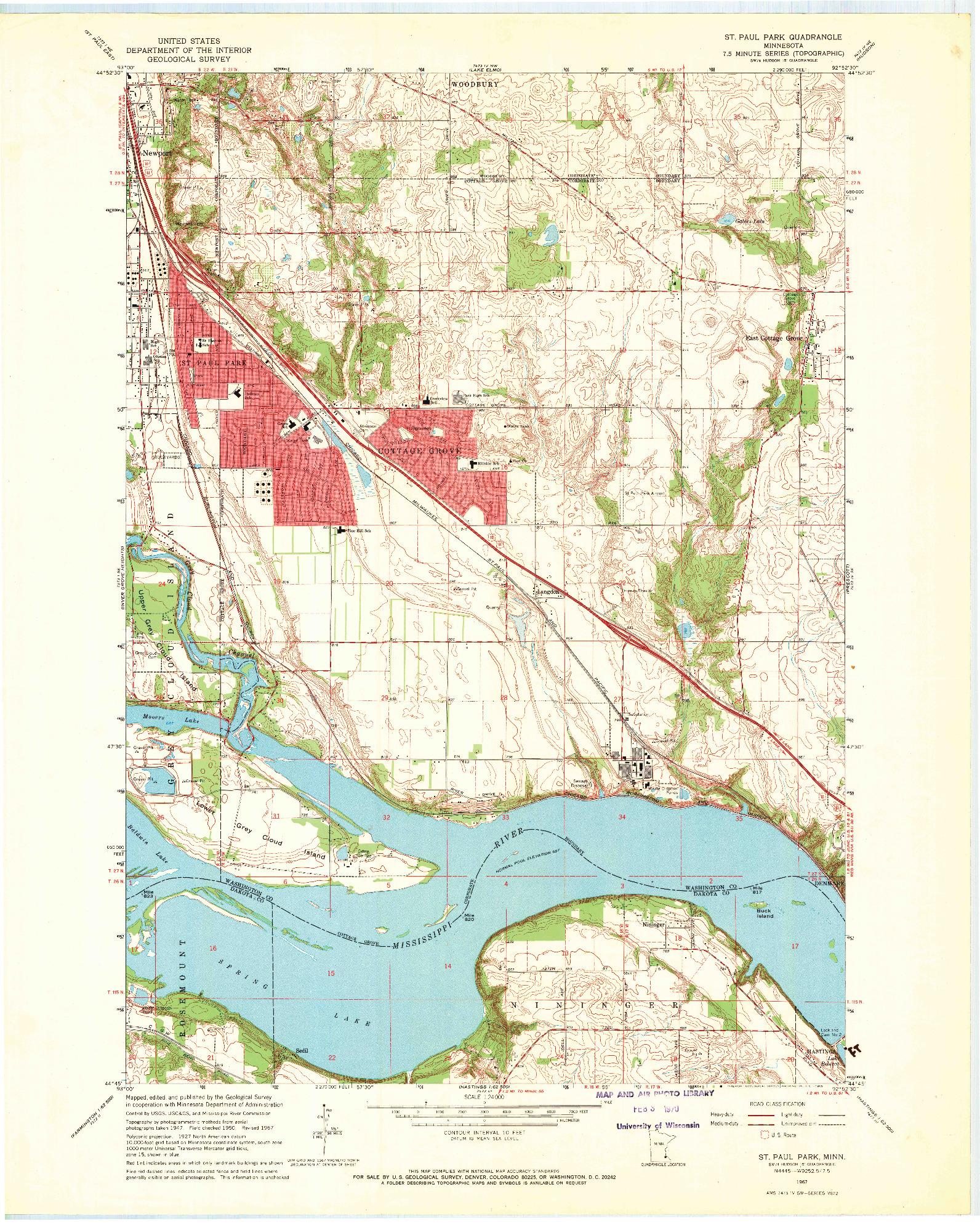 USGS 1:24000-SCALE QUADRANGLE FOR ST PAUL PARK, MN 1967