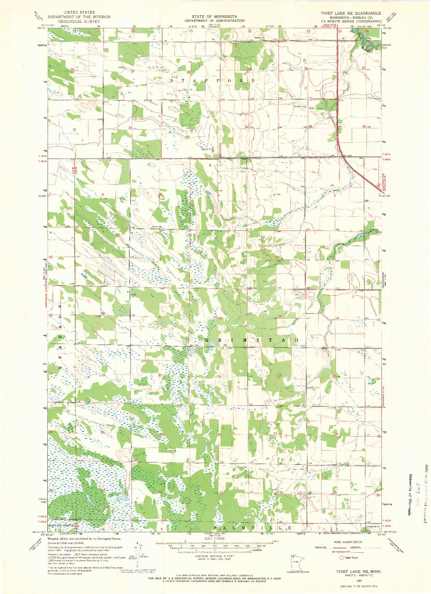 USGS 1:24000-SCALE QUADRANGLE FOR THIEF LAKE NE, MN 1967