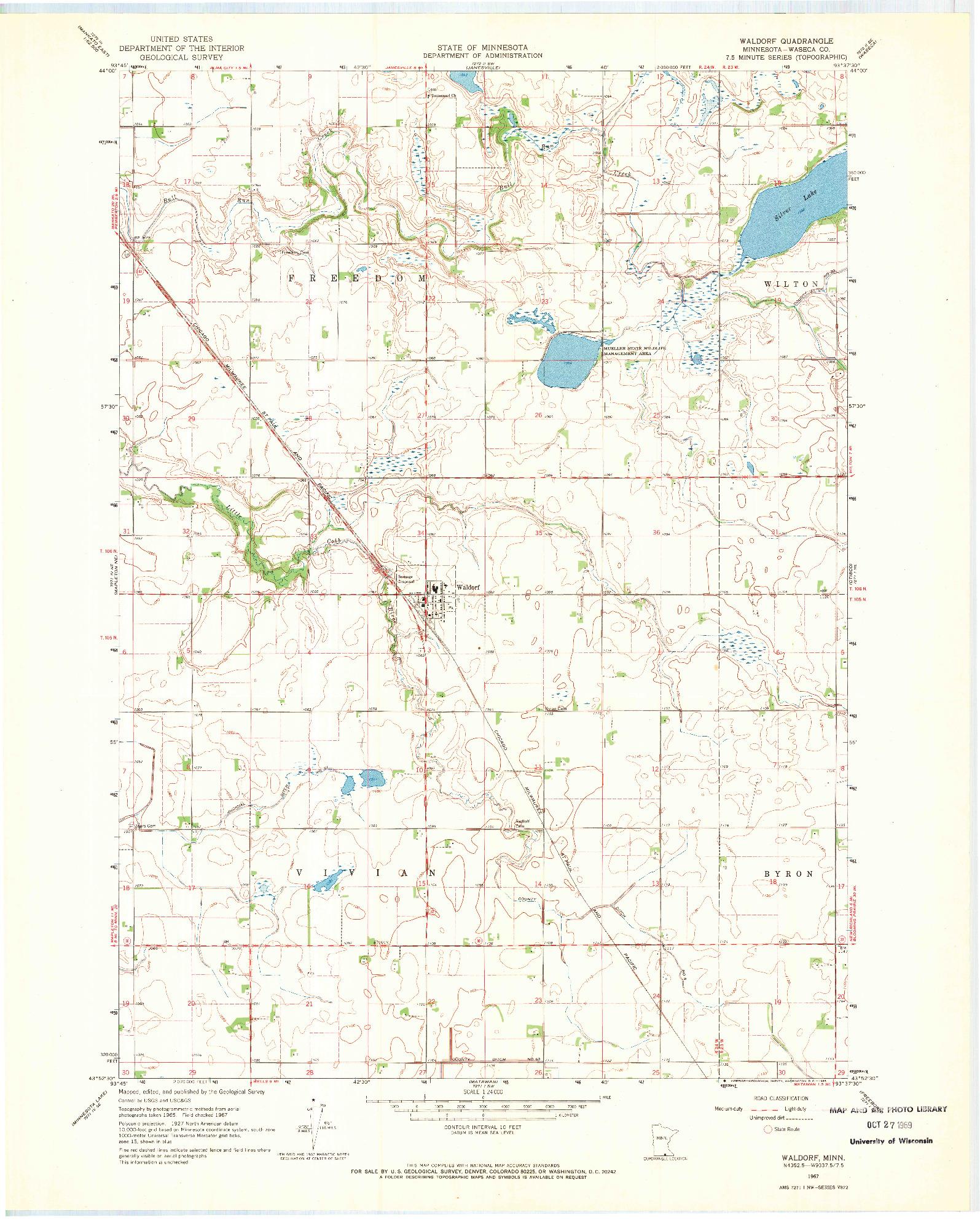 USGS 1:24000-SCALE QUADRANGLE FOR WALDORF, MN 1967