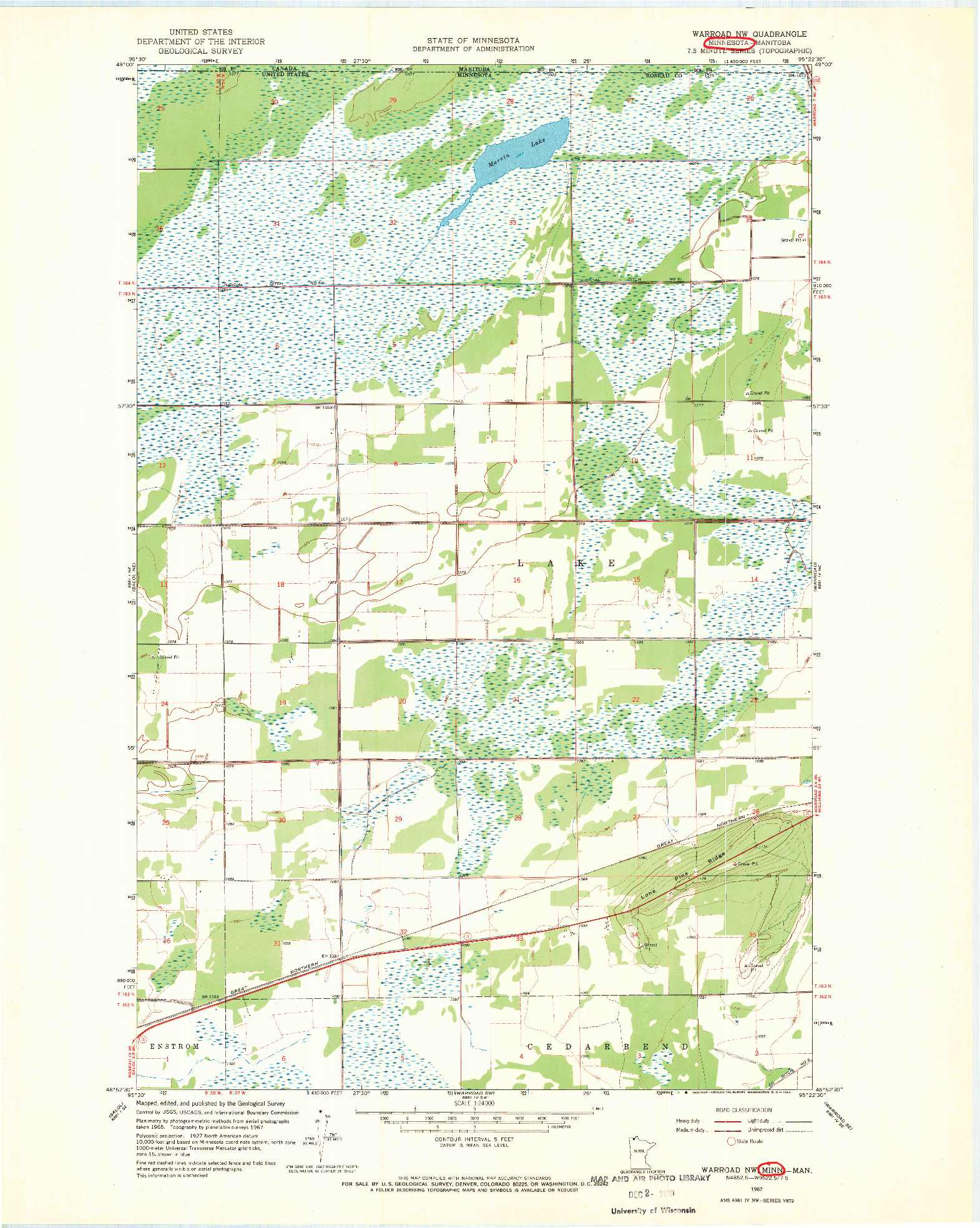 USGS 1:24000-SCALE QUADRANGLE FOR WARROAD NW, MN 1967
