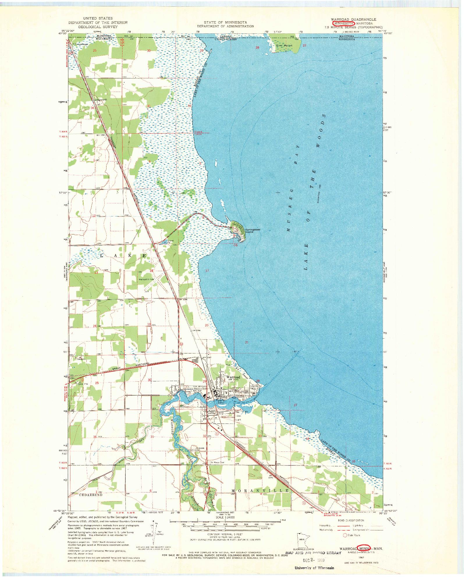 USGS 1:24000-SCALE QUADRANGLE FOR WARROAD, MN 1967