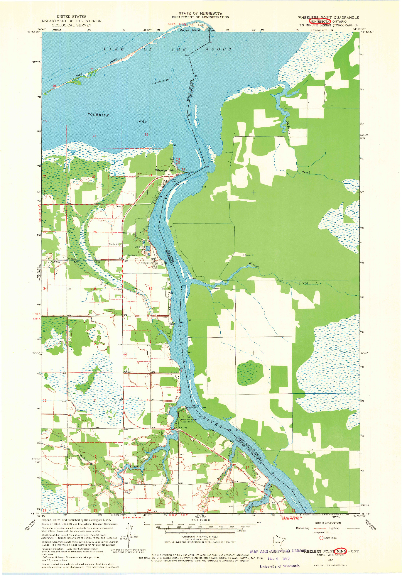 USGS 1:24000-SCALE QUADRANGLE FOR WHEELERS POINT, MN 1967