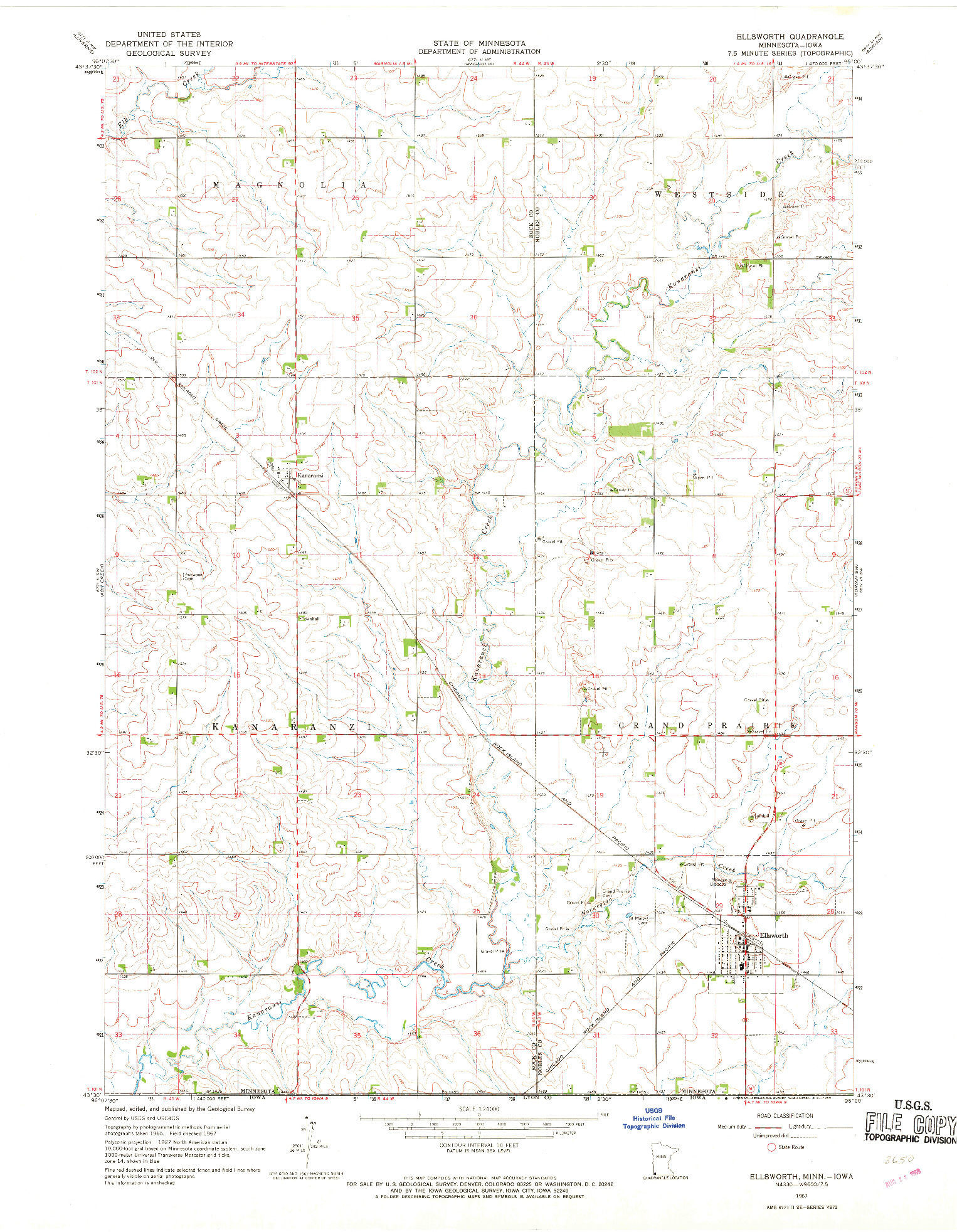 USGS 1:24000-SCALE QUADRANGLE FOR ELLSWORTH, MN 1967