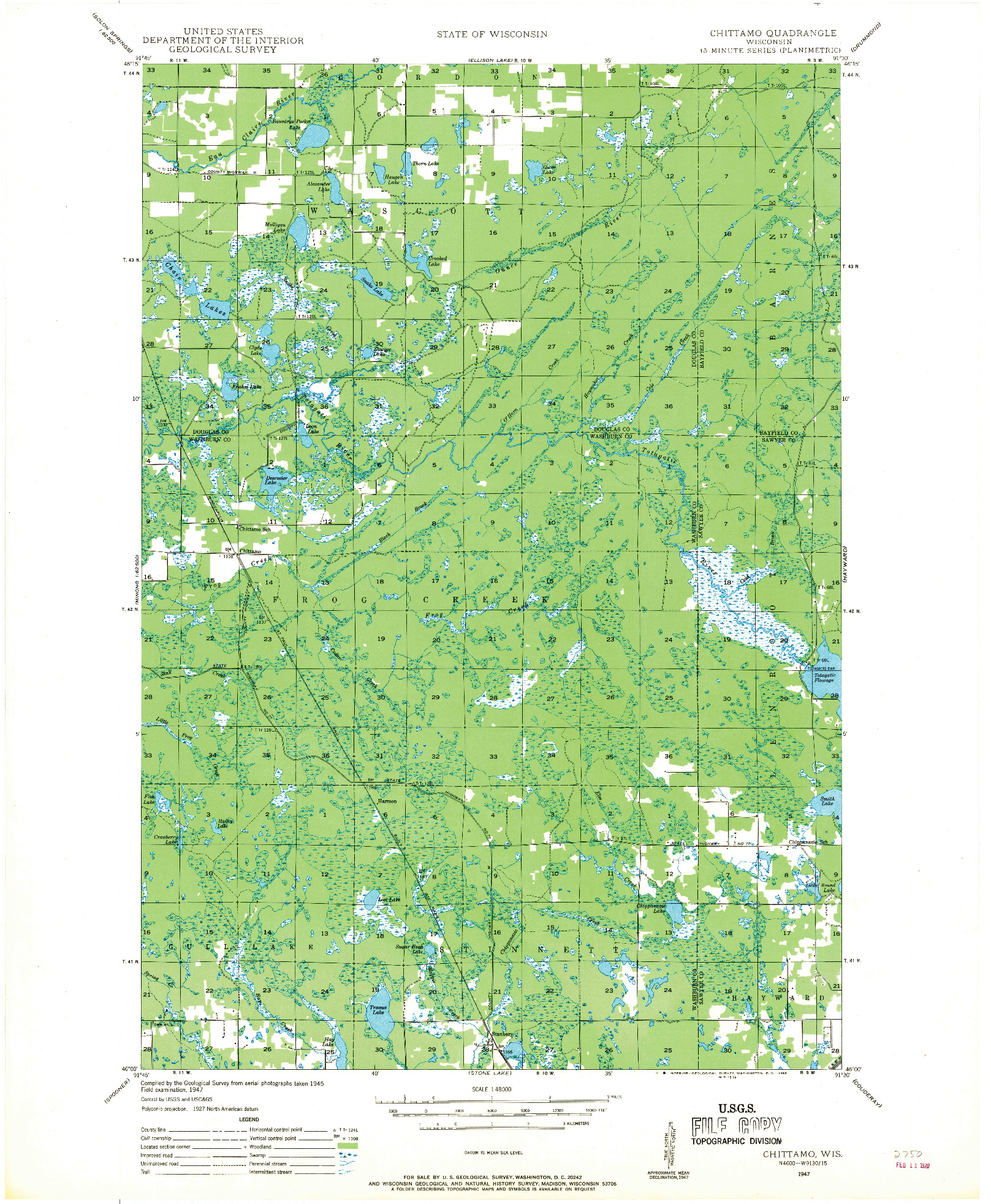 USGS 1:48000-SCALE QUADRANGLE FOR CHITTAMO, WI 1947