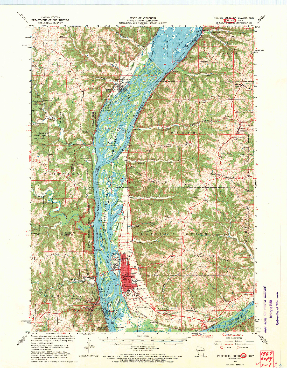 USGS 1:62500-SCALE QUADRANGLE FOR PRAIRIE DU CHIEN, WI 1967