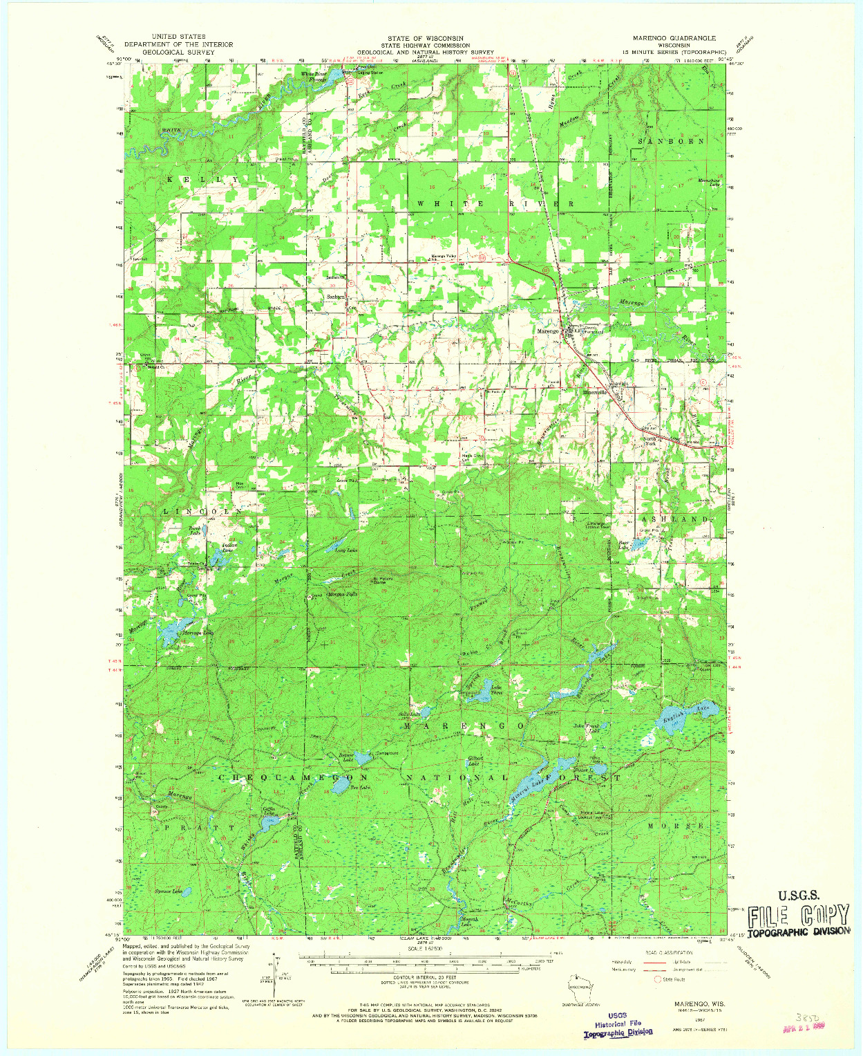 USGS 1:62500-SCALE QUADRANGLE FOR MARENGO, WI 1967