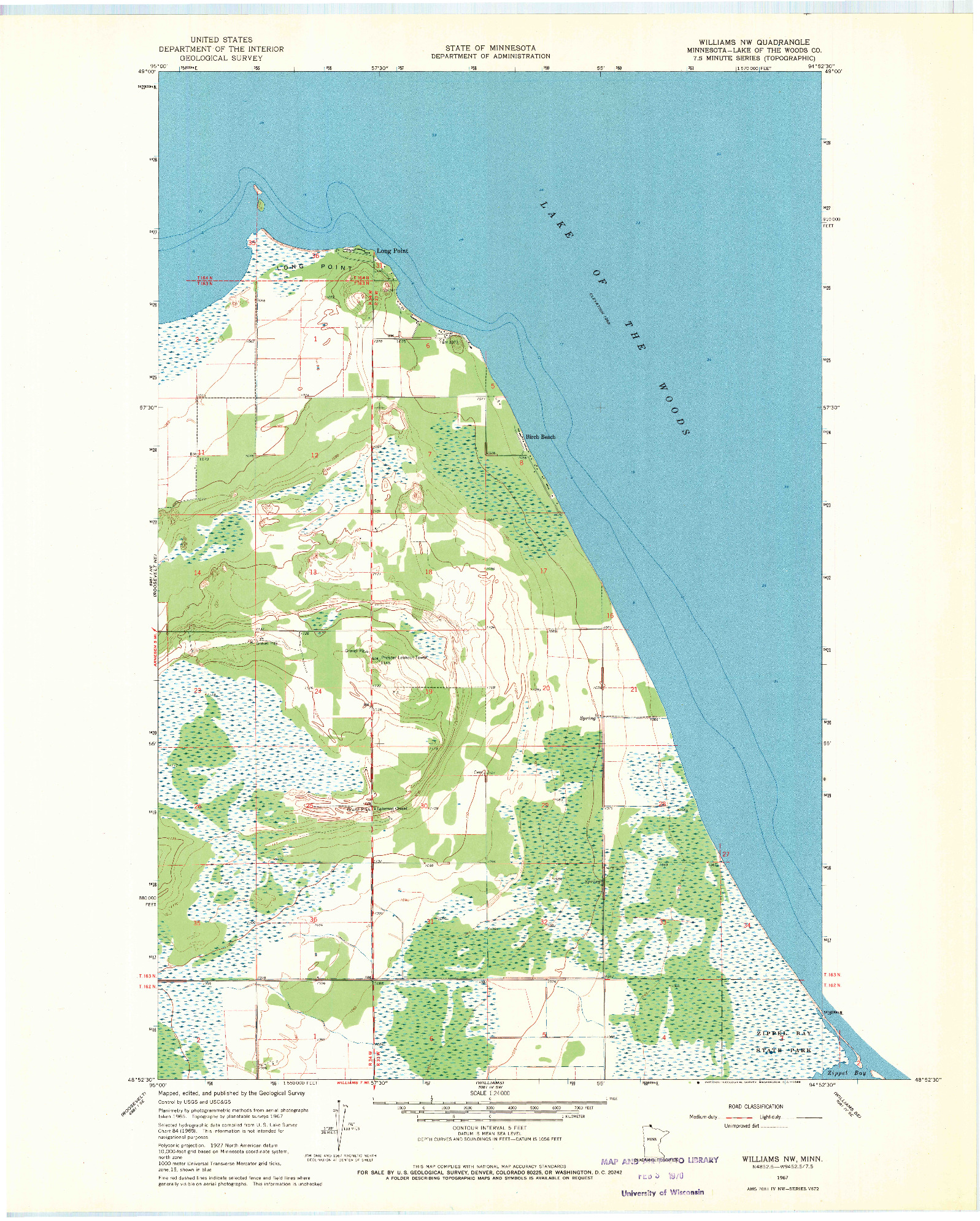 USGS 1:24000-SCALE QUADRANGLE FOR WILLIAMS NW, MN 1967