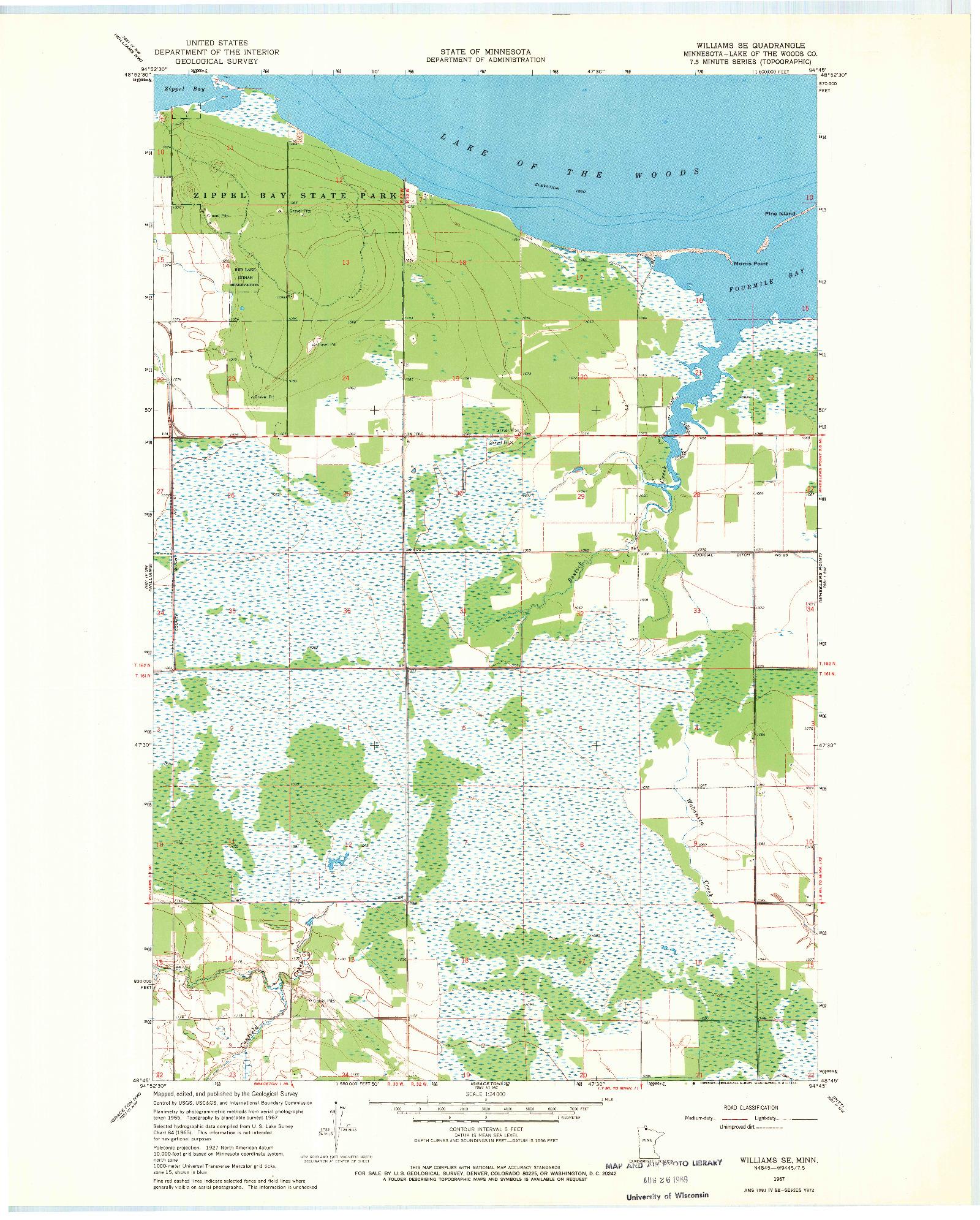 USGS 1:24000-SCALE QUADRANGLE FOR WILLIAMS SE, MN 1967