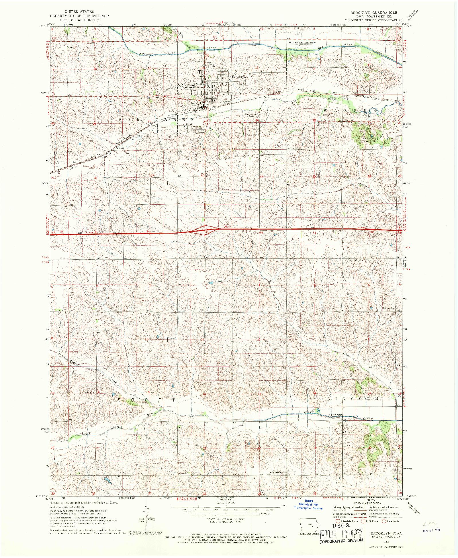 USGS 1:24000-SCALE QUADRANGLE FOR BROOKLYN, IA 1968