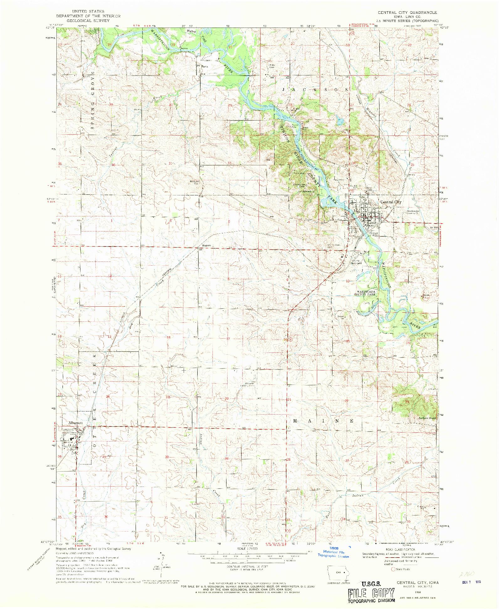 USGS 1:24000-SCALE QUADRANGLE FOR CENTRAL CITY, IA 1968