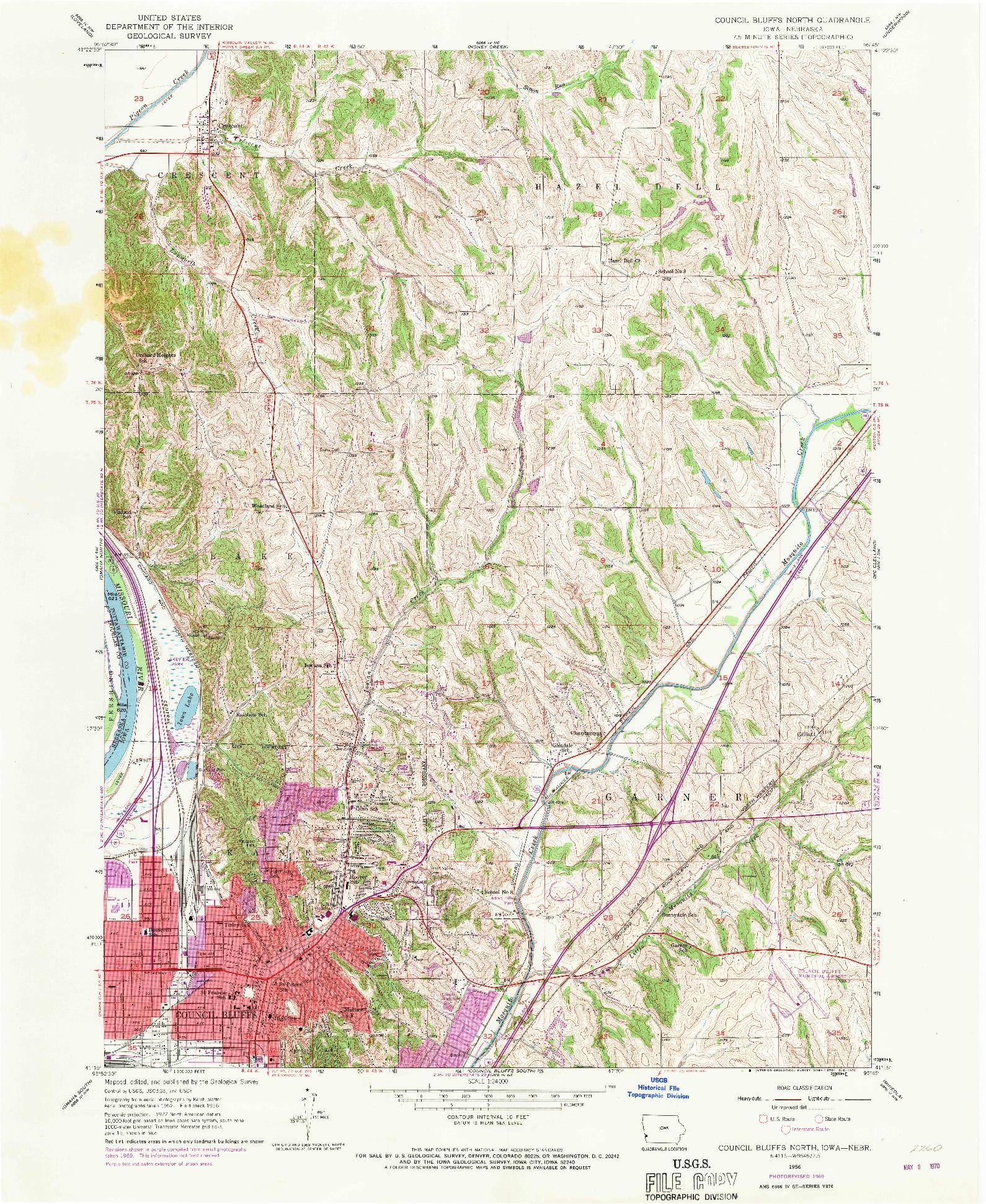 USGS 1:24000-SCALE QUADRANGLE FOR COUNCIL BLUFFS NORTH, IA 1956