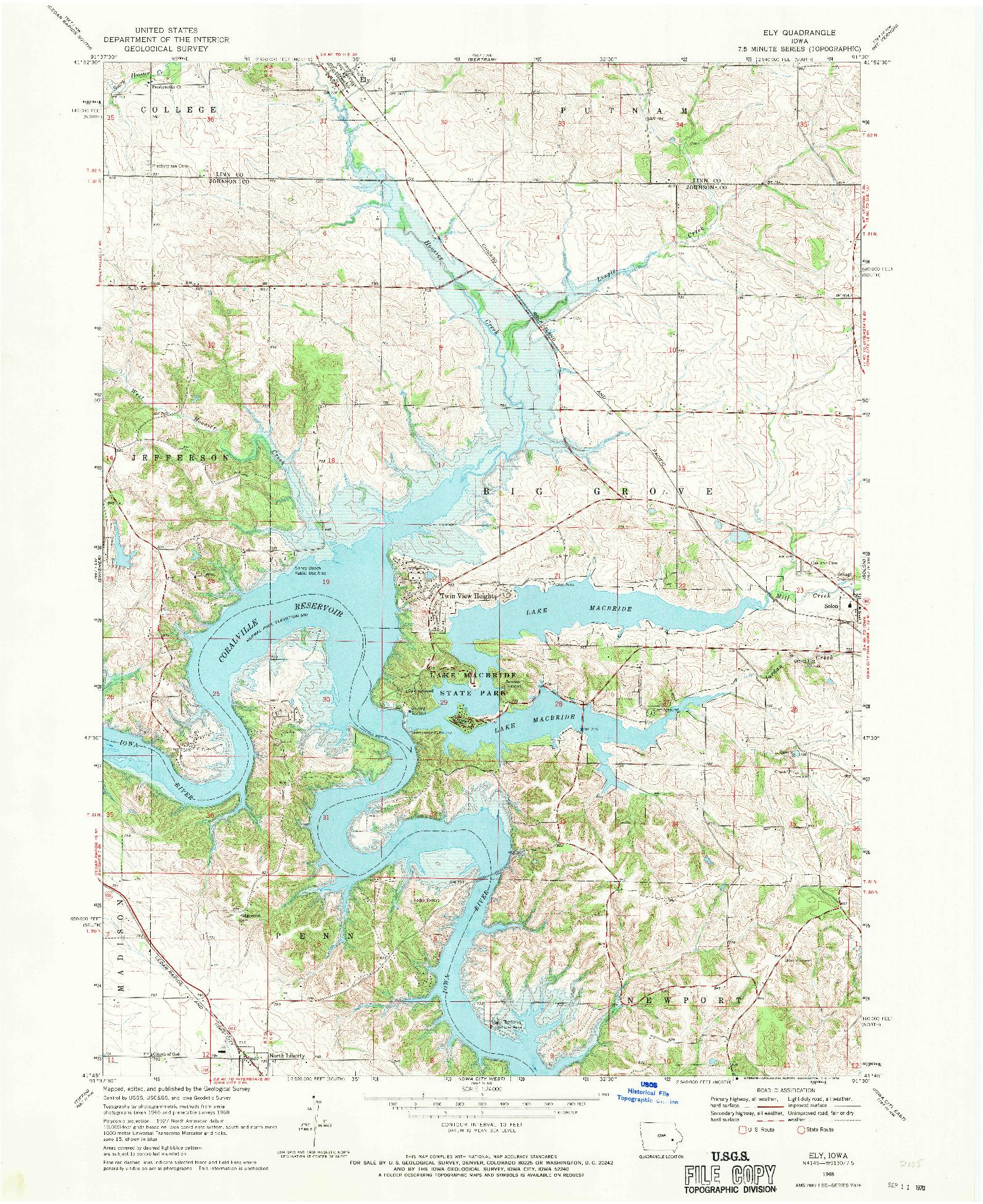 USGS 1:24000-SCALE QUADRANGLE FOR ELY, IA 1968