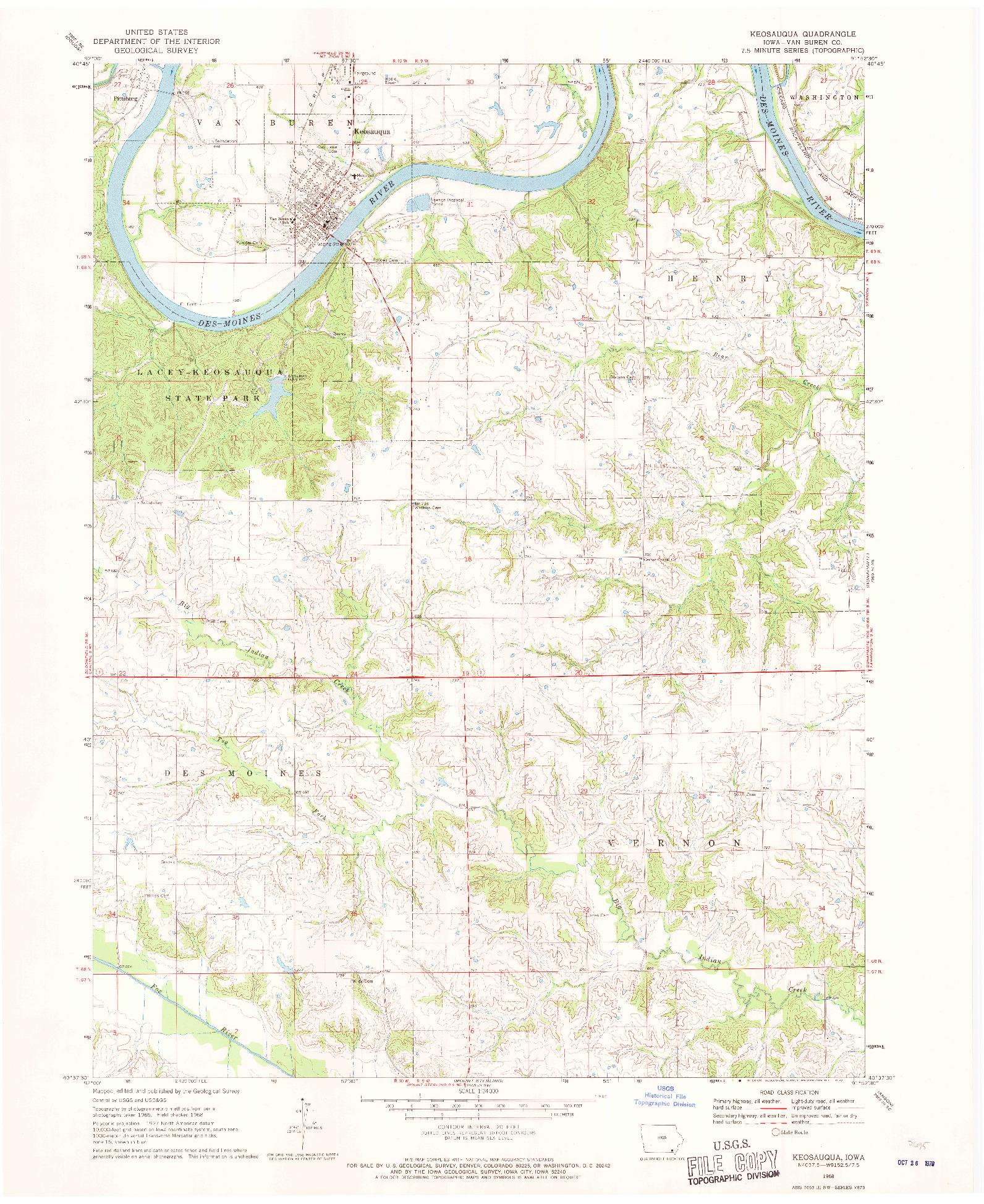 USGS 1:24000-SCALE QUADRANGLE FOR KEOSAUQUA, IA 1968