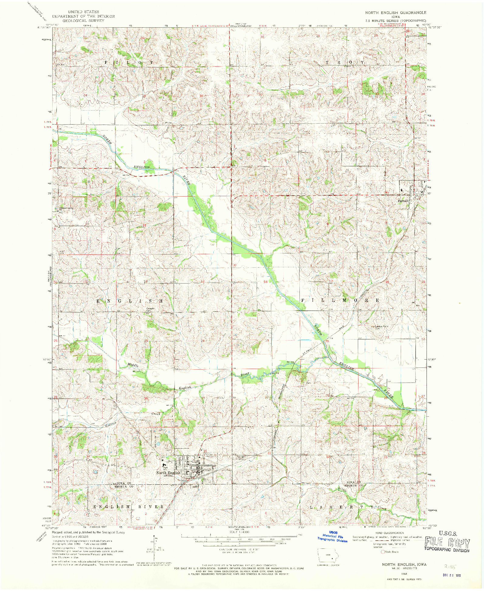 USGS 1:24000-SCALE QUADRANGLE FOR NORTH ENGLISH, IA 1968