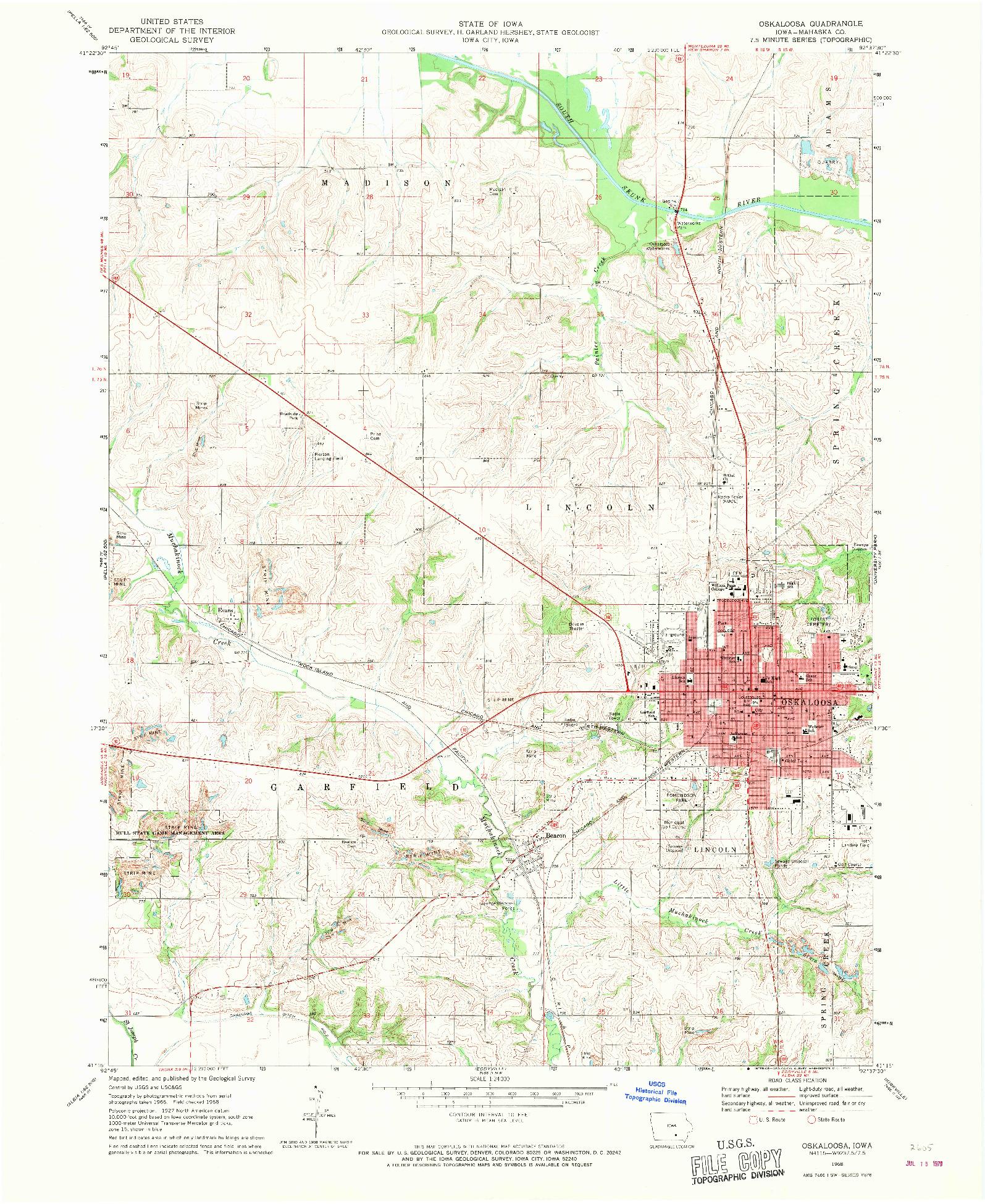 USGS 1:24000-SCALE QUADRANGLE FOR OSKALOOSA, IA 1968
