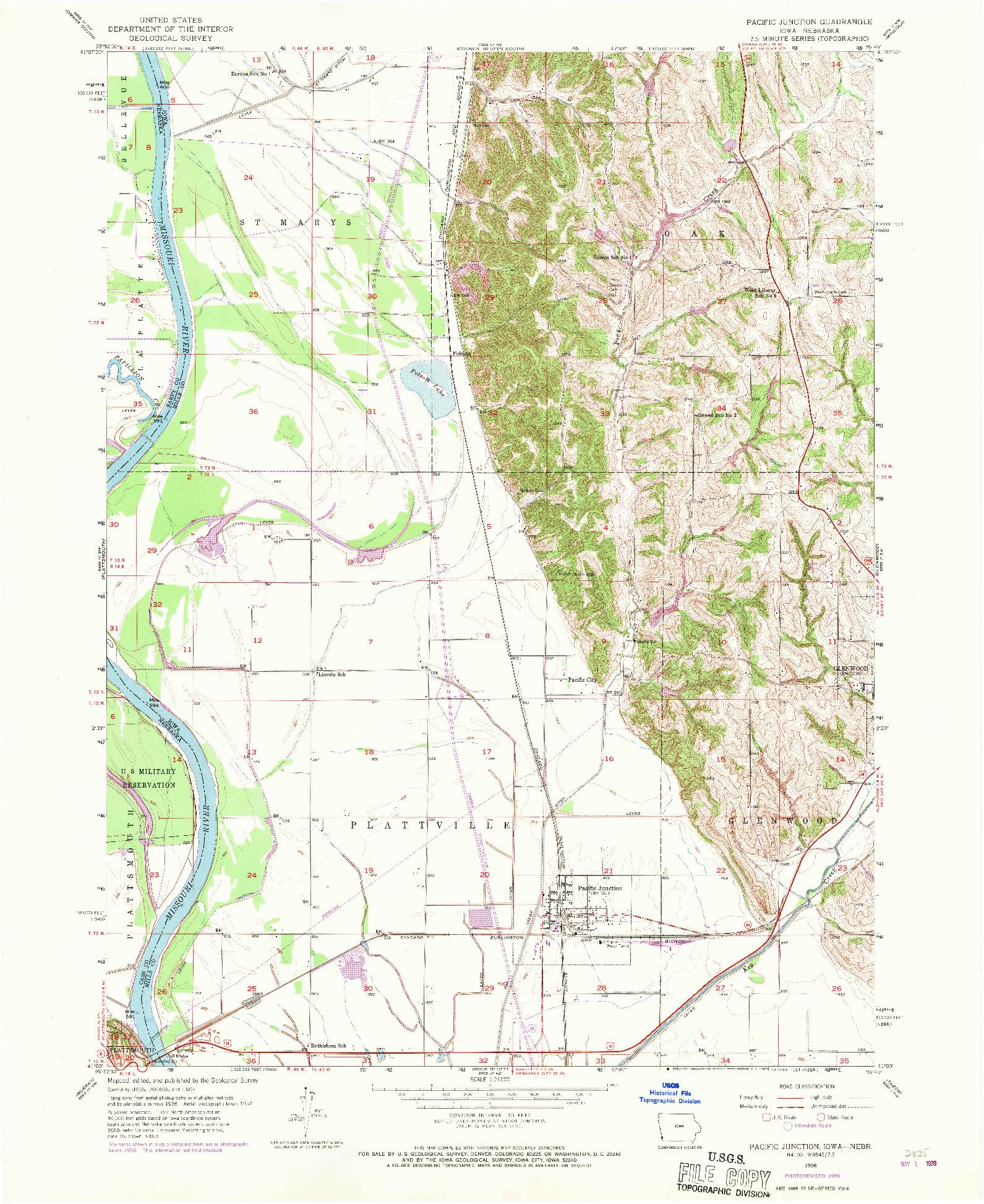 USGS 1:24000-SCALE QUADRANGLE FOR PACIFIC JUNCTION, IA 1956