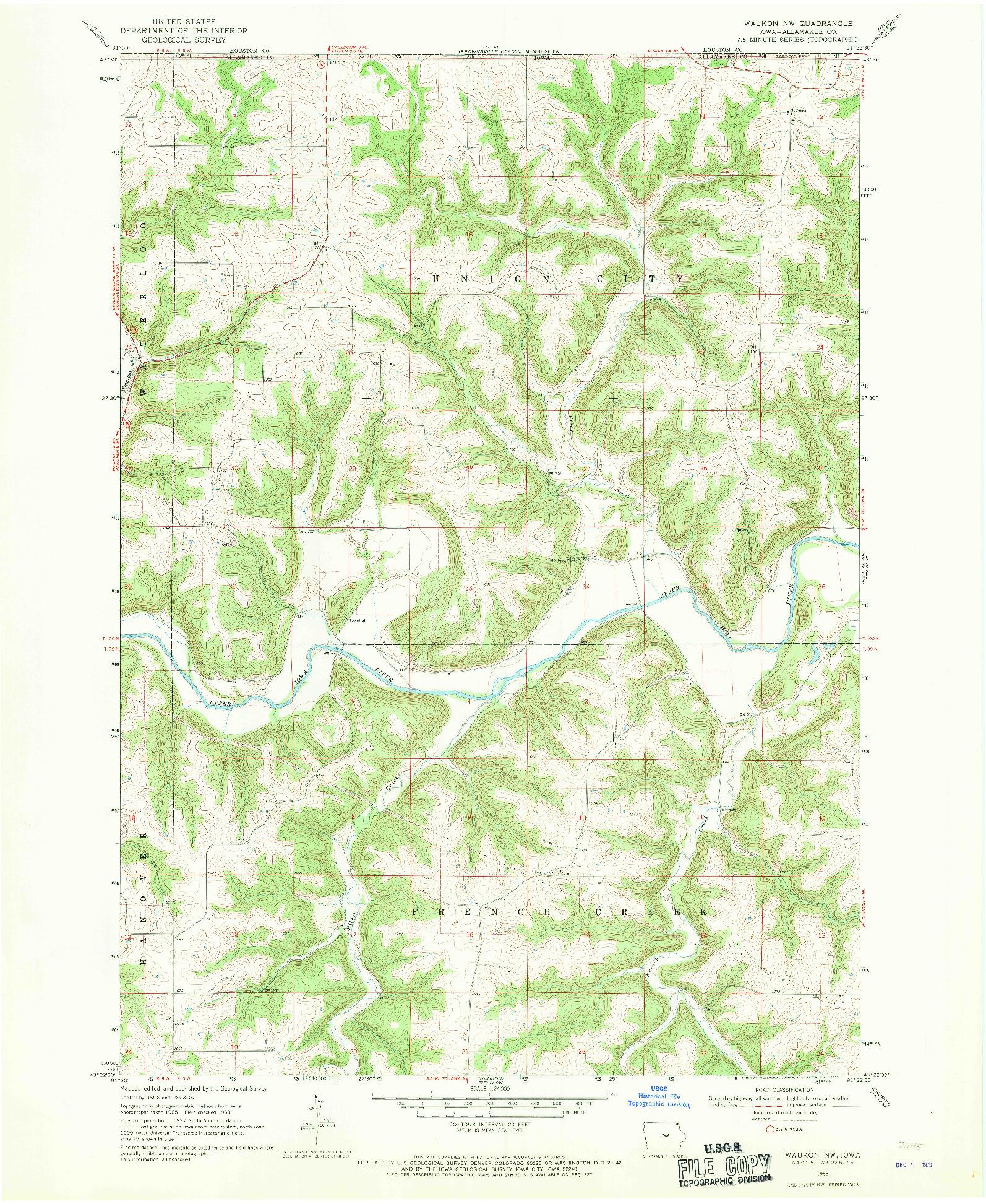 USGS 1:24000-SCALE QUADRANGLE FOR WAUKON NW, IA 1968