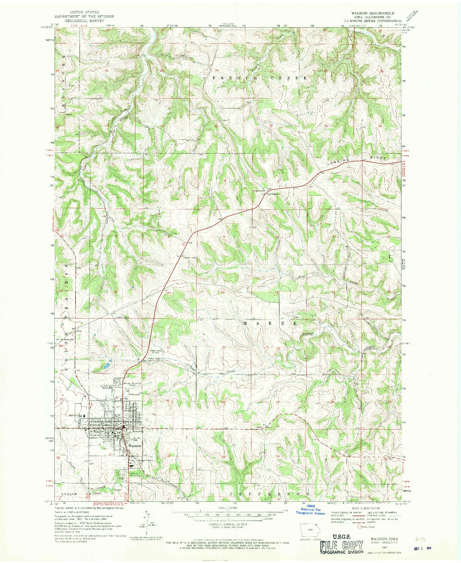 USGS 1:24000-SCALE QUADRANGLE FOR WAUKON, IA 1968