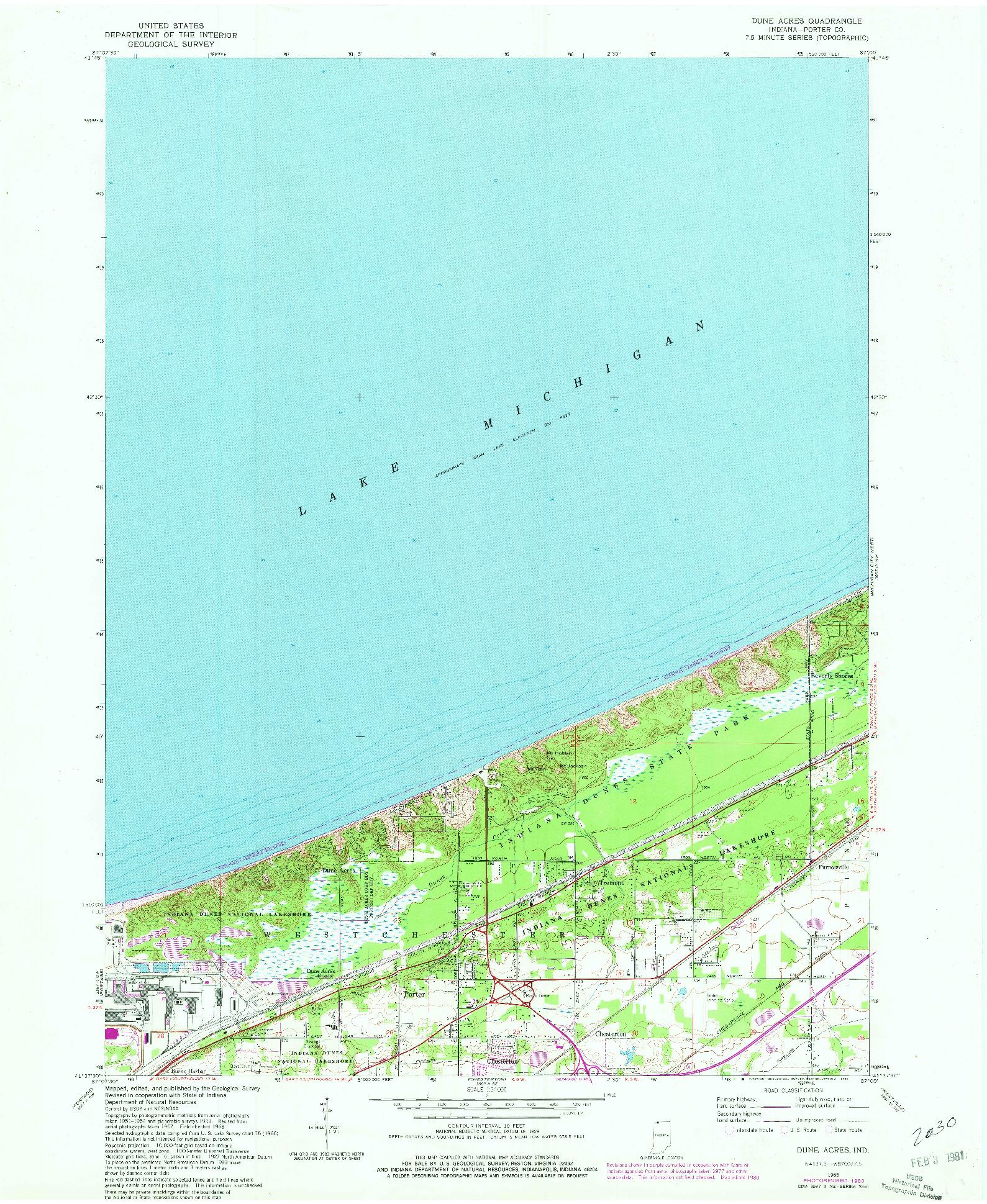 USGS 1:24000-SCALE QUADRANGLE FOR DUNE ACRES, IN 1968