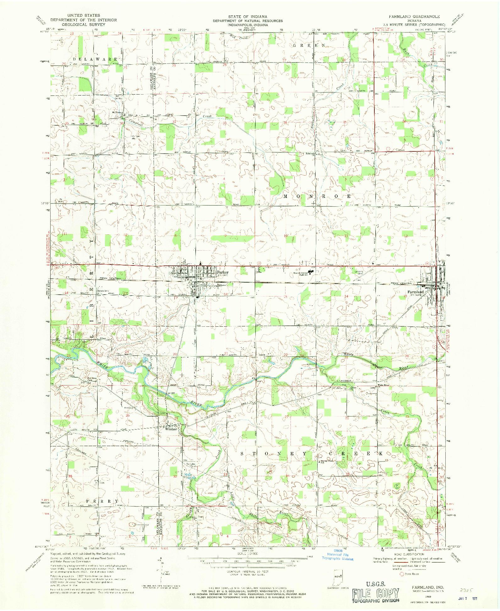 USGS 1:24000-SCALE QUADRANGLE FOR FARMLAND, IN 1969