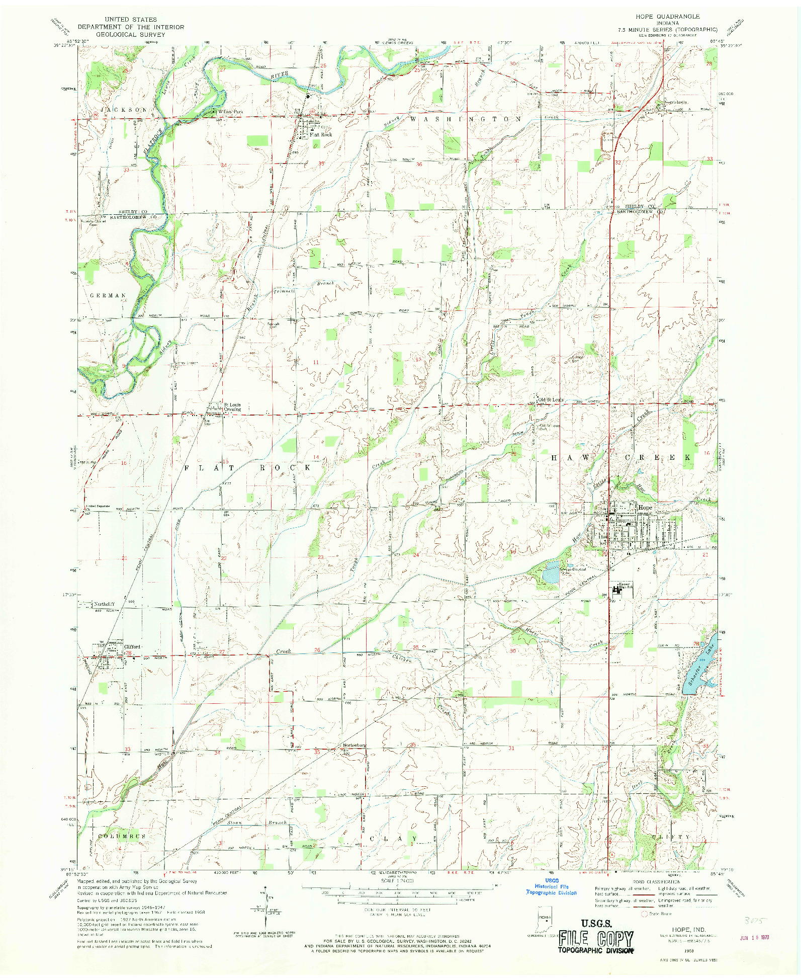 USGS 1:24000-SCALE QUADRANGLE FOR HOPE, IN 1968