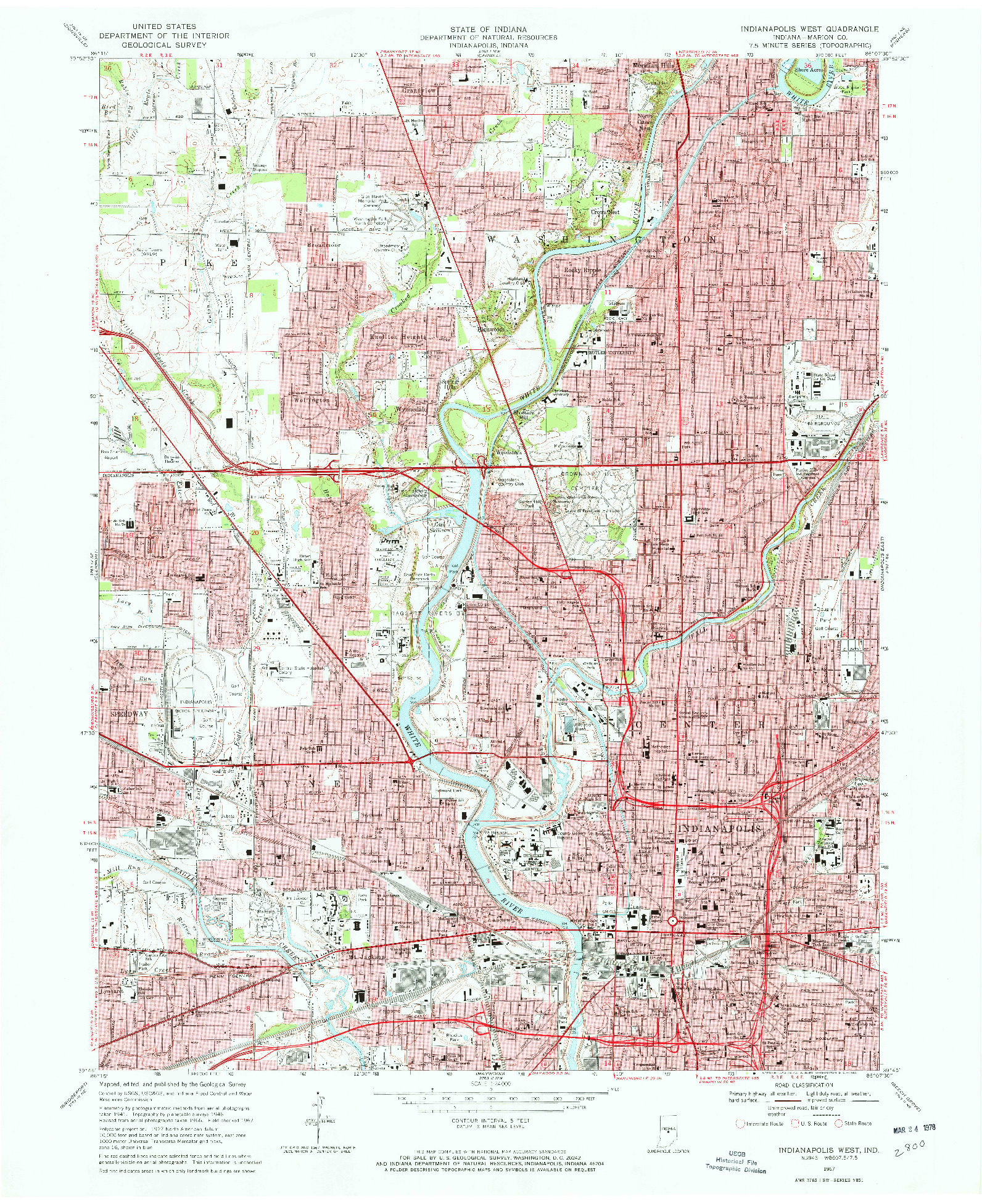 USGS 1:24000-SCALE QUADRANGLE FOR INDIANAPOLIS WEST, IN 1967