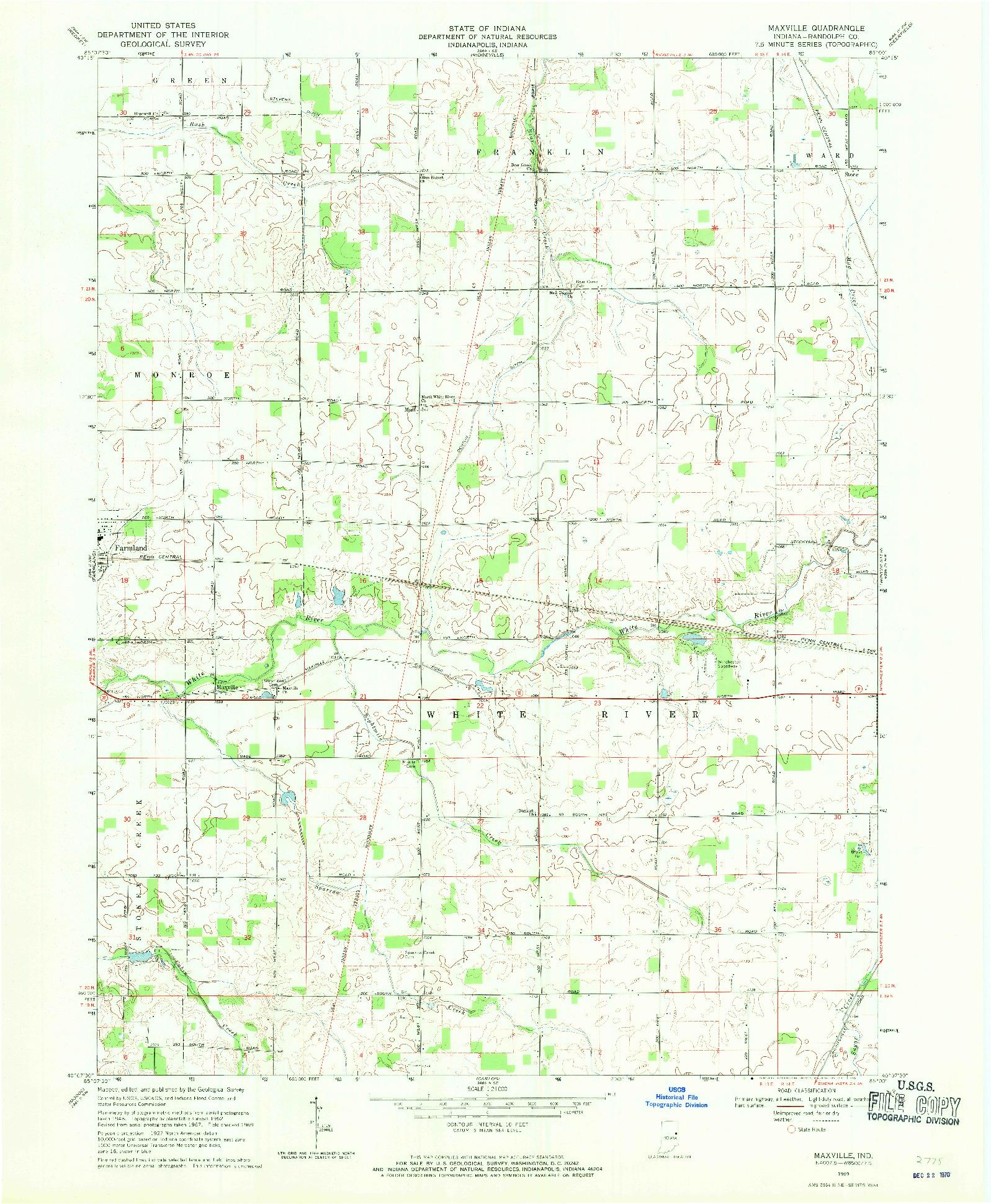 USGS 1:24000-SCALE QUADRANGLE FOR MAXVILLE, IN 1969
