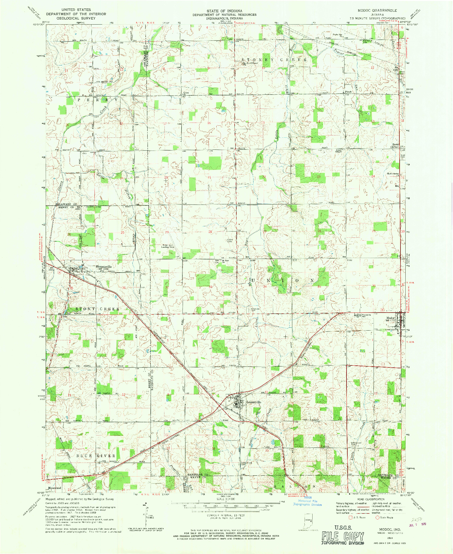 USGS 1:24000-SCALE QUADRANGLE FOR MODOC, IN 1969