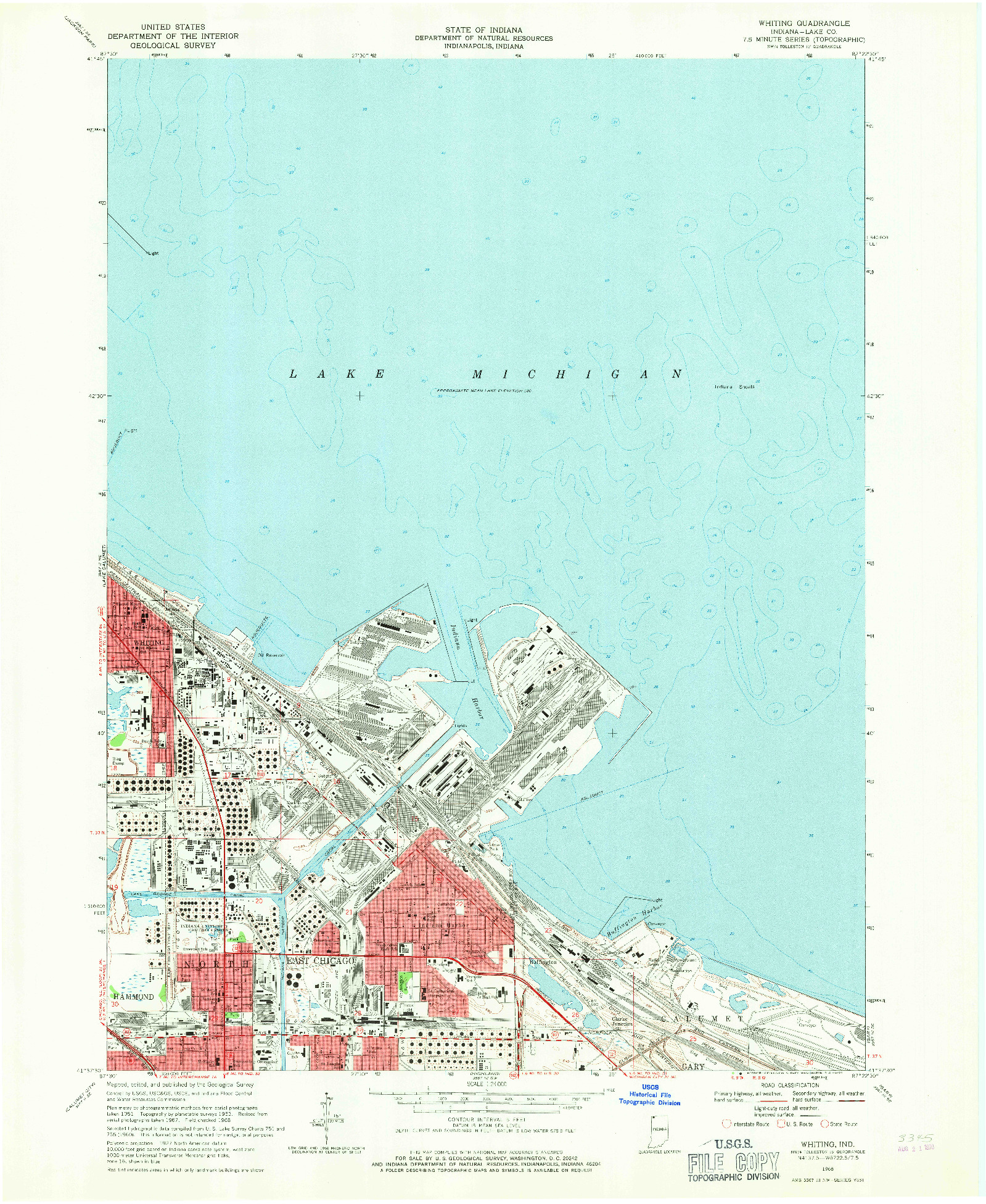 USGS 1:24000-SCALE QUADRANGLE FOR WHITING, IN 1968