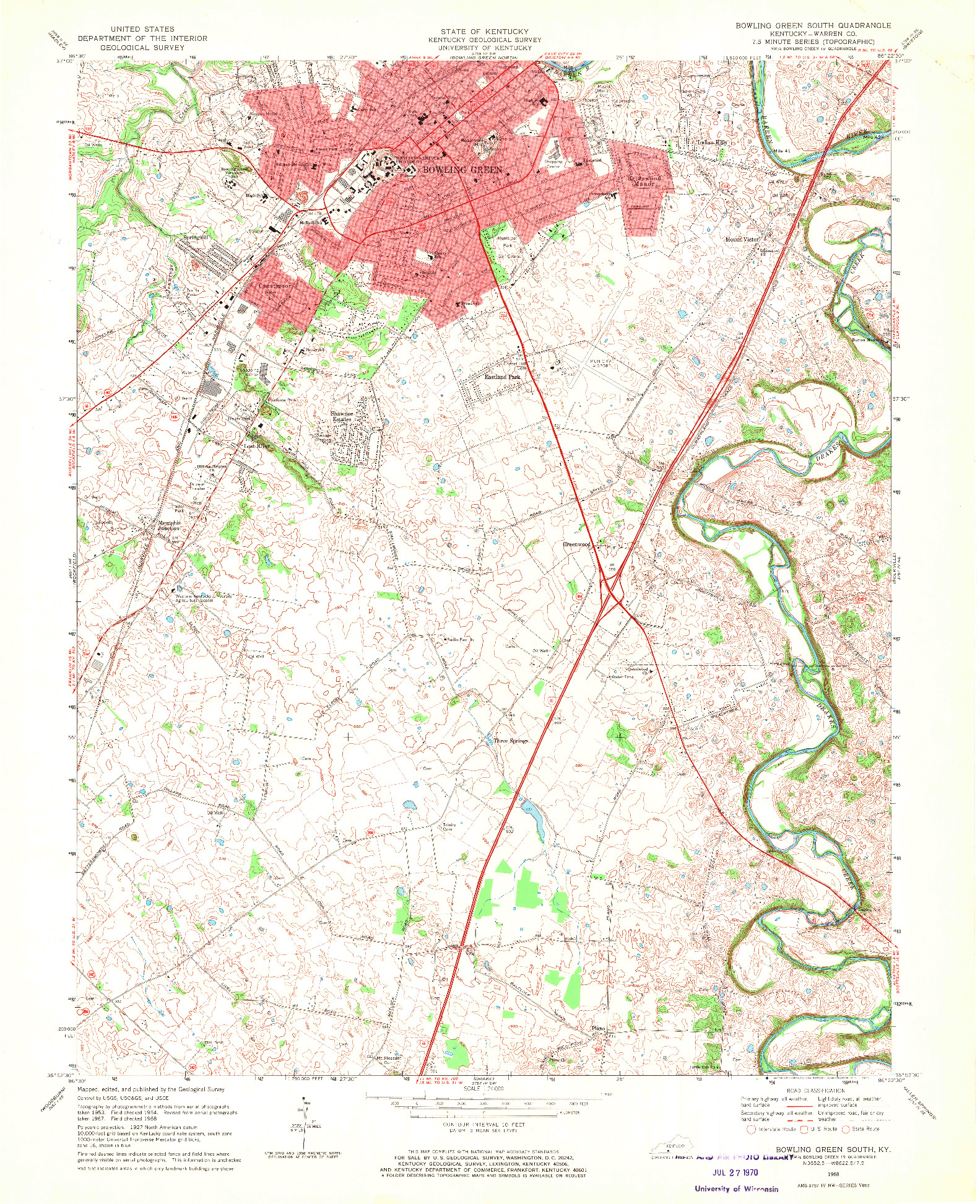 USGS 1:24000-SCALE QUADRANGLE FOR BOWLING GREEN SOUTH, KY 1968
