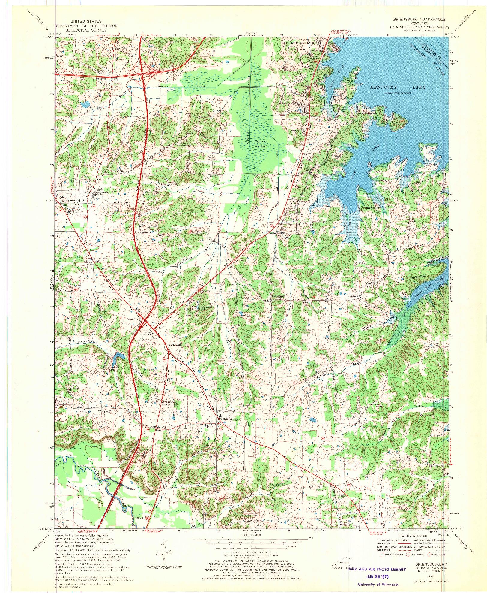 USGS 1:24000-SCALE QUADRANGLE FOR BRIENSBURG, KY 1969