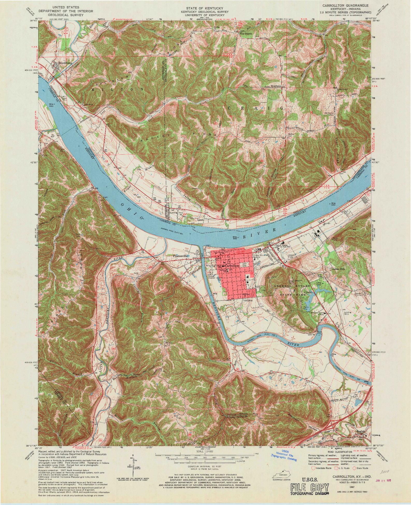 USGS 1:24000-SCALE QUADRANGLE FOR CARROLLTON, KY 1967