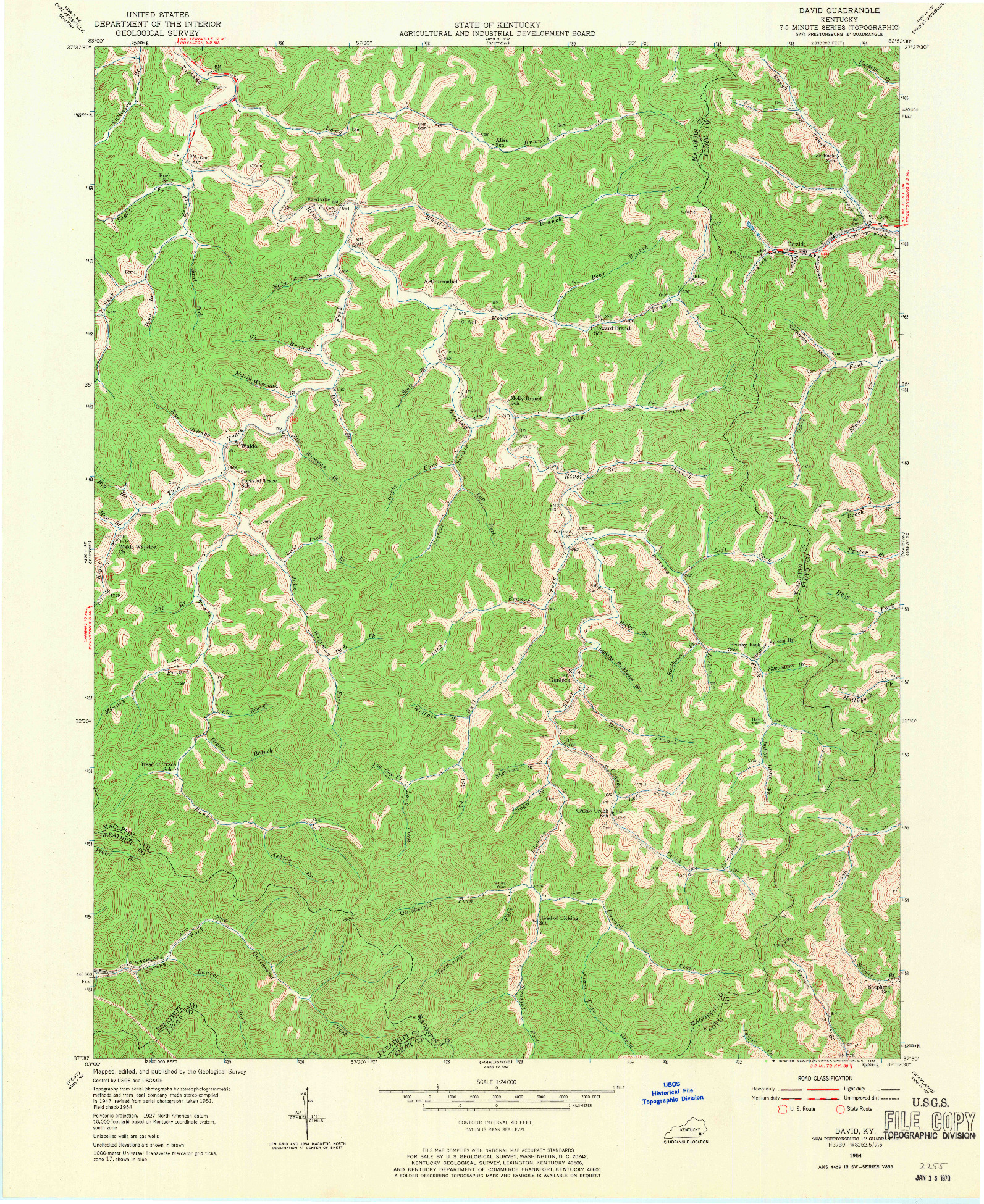 USGS 1:24000-SCALE QUADRANGLE FOR DAVID, KY 1954