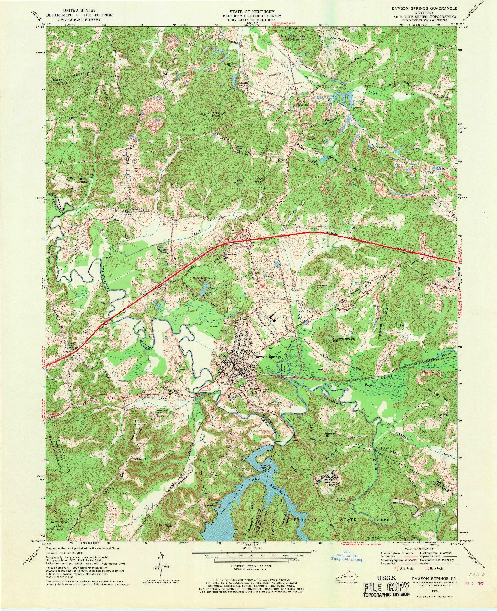 USGS 1:24000-SCALE QUADRANGLE FOR DAWSON SPRINGS, KY 1968