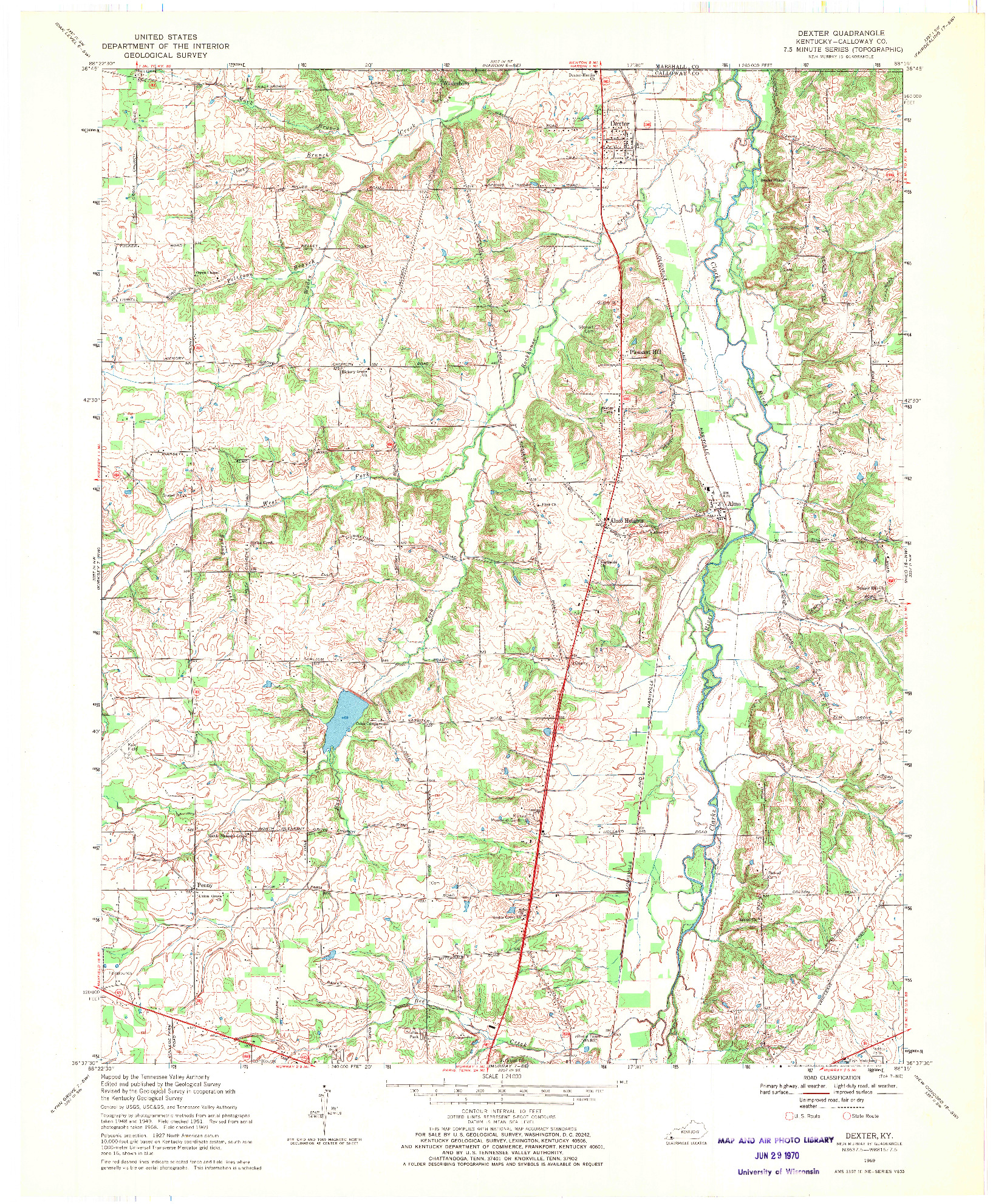 USGS 1:24000-SCALE QUADRANGLE FOR DEXTER, KY 1969