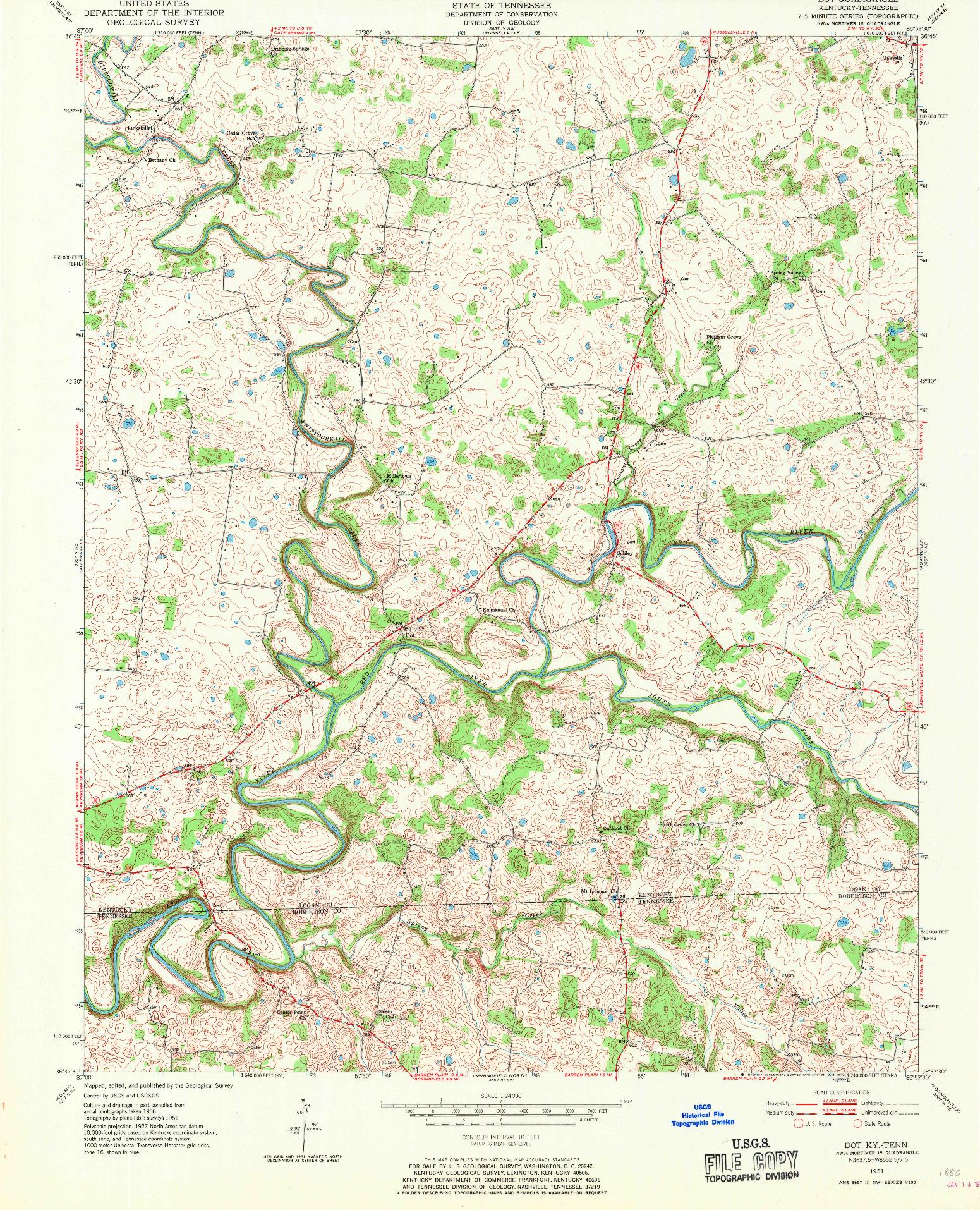 USGS 1:24000-SCALE QUADRANGLE FOR DOT, KY 1951