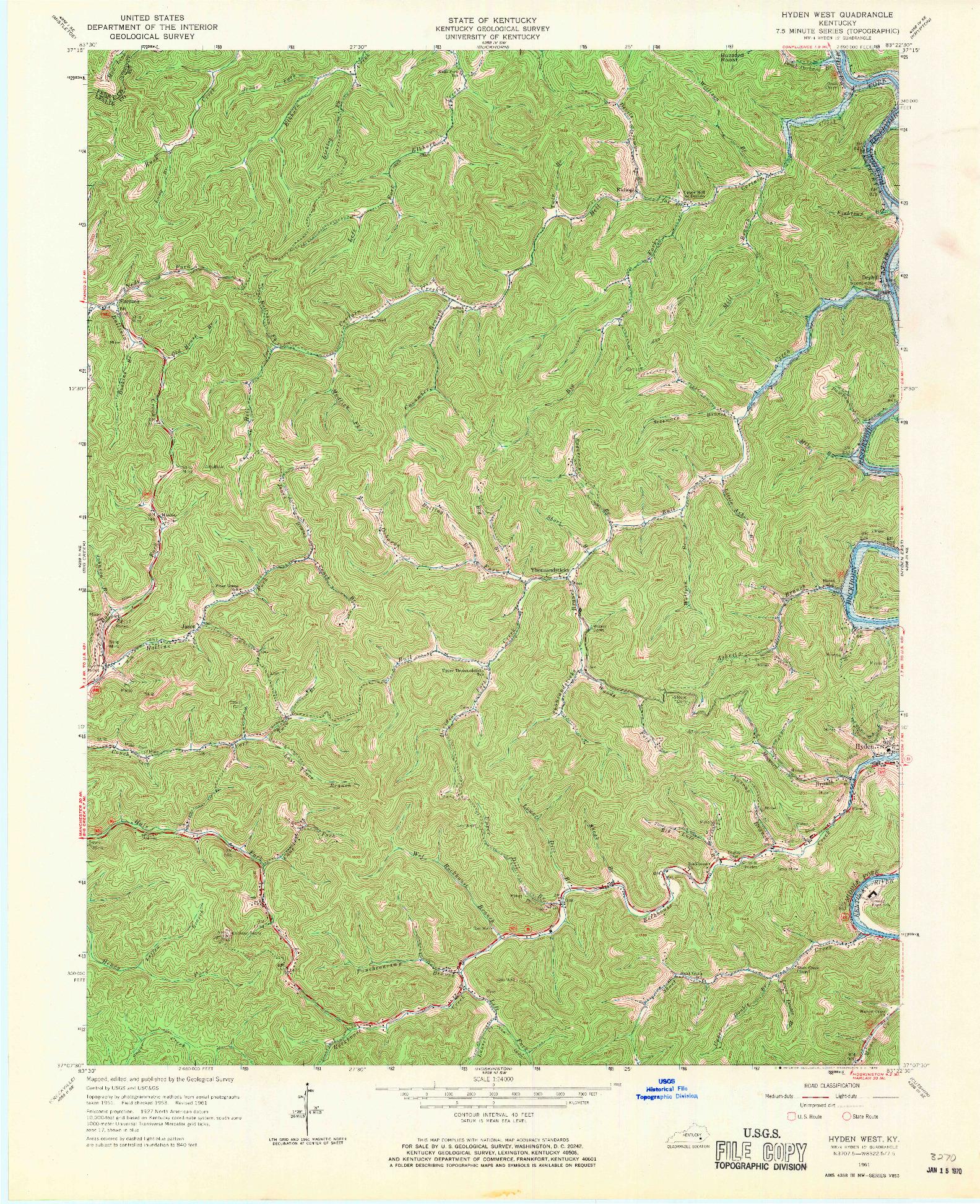 USGS 1:24000-SCALE QUADRANGLE FOR HYDEN WEST, KY 1961