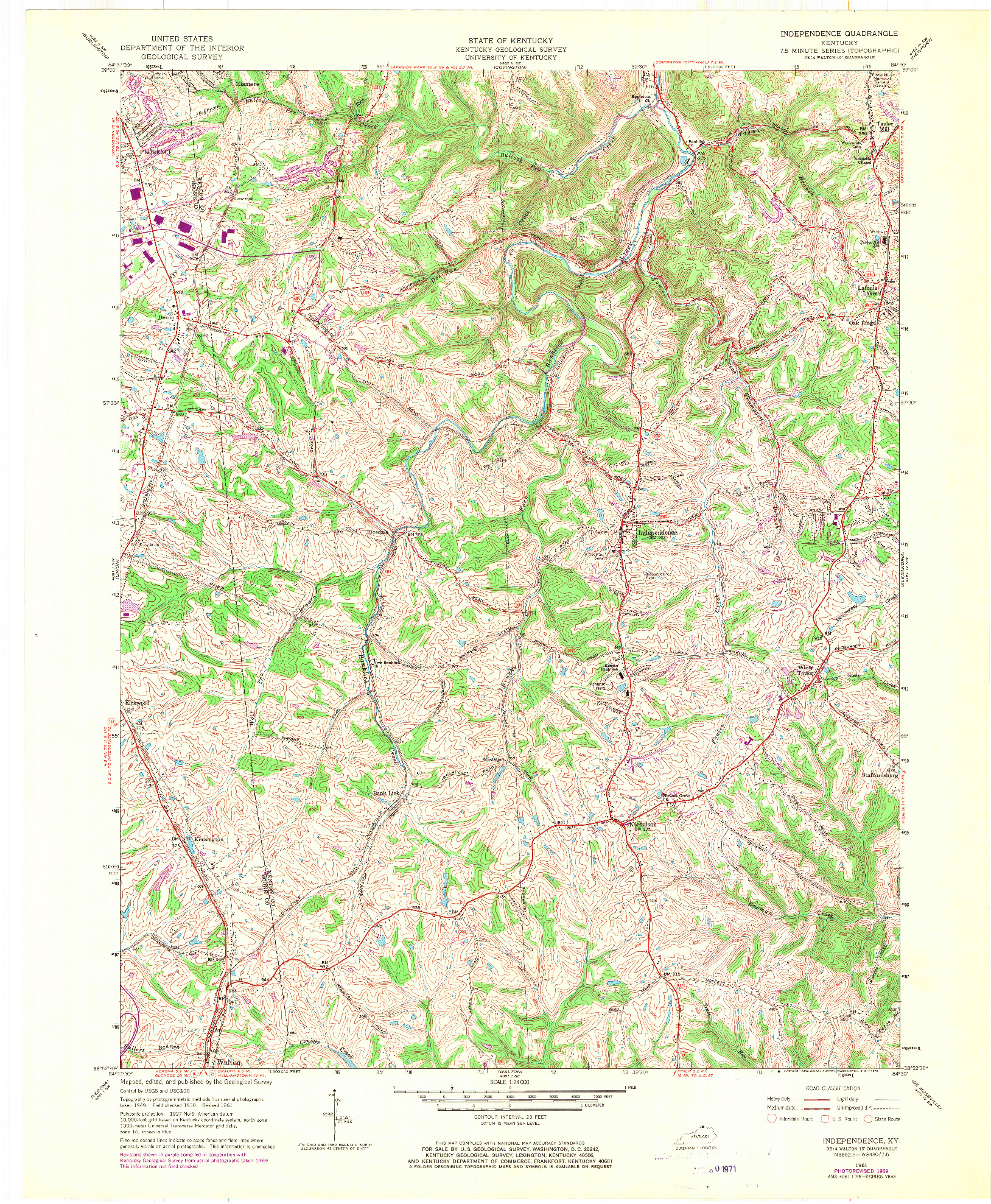 USGS 1:24000-SCALE QUADRANGLE FOR INDEPENDENCE, KY 1961