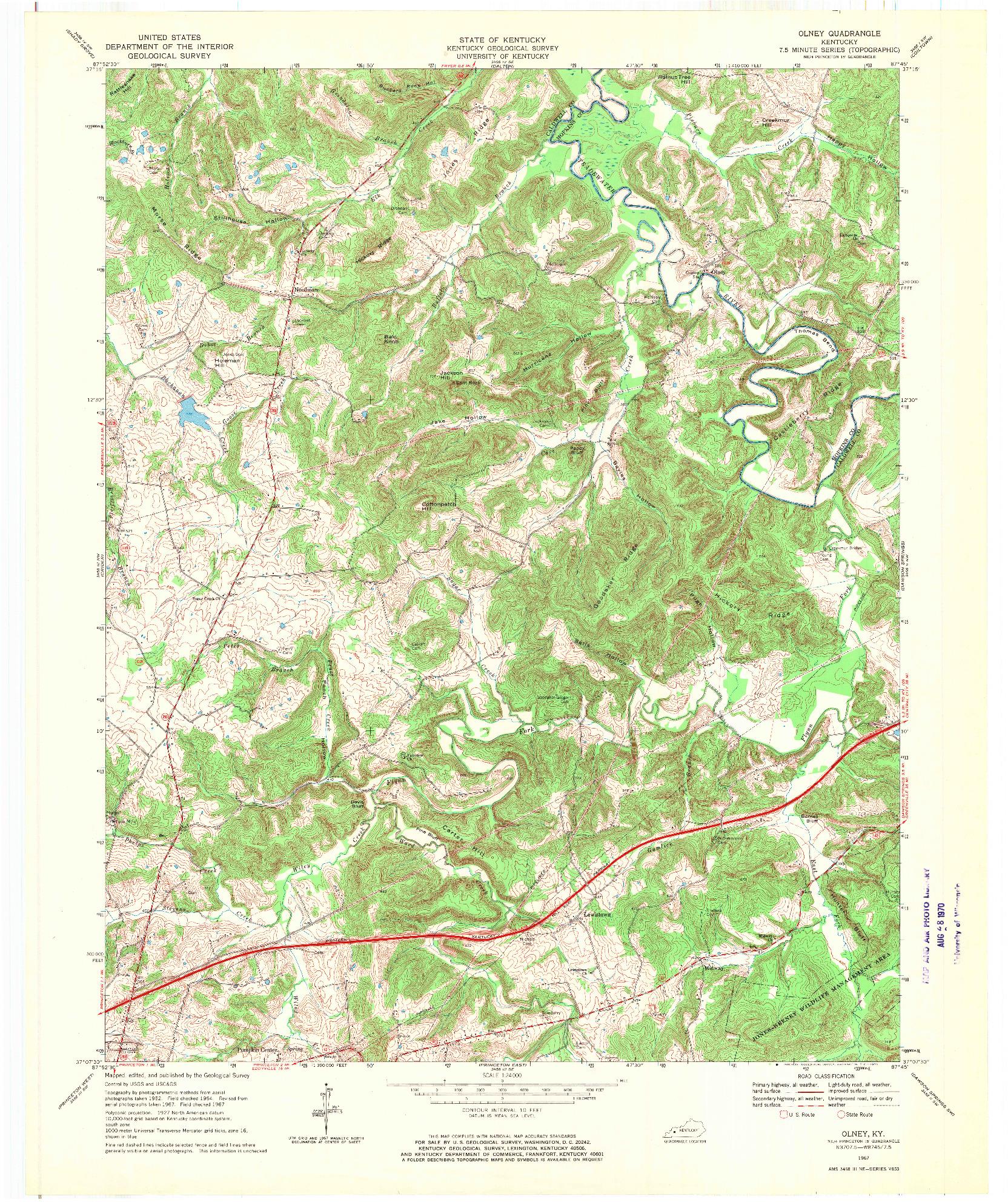 USGS 1:24000-SCALE QUADRANGLE FOR OLNEY, KY 1967