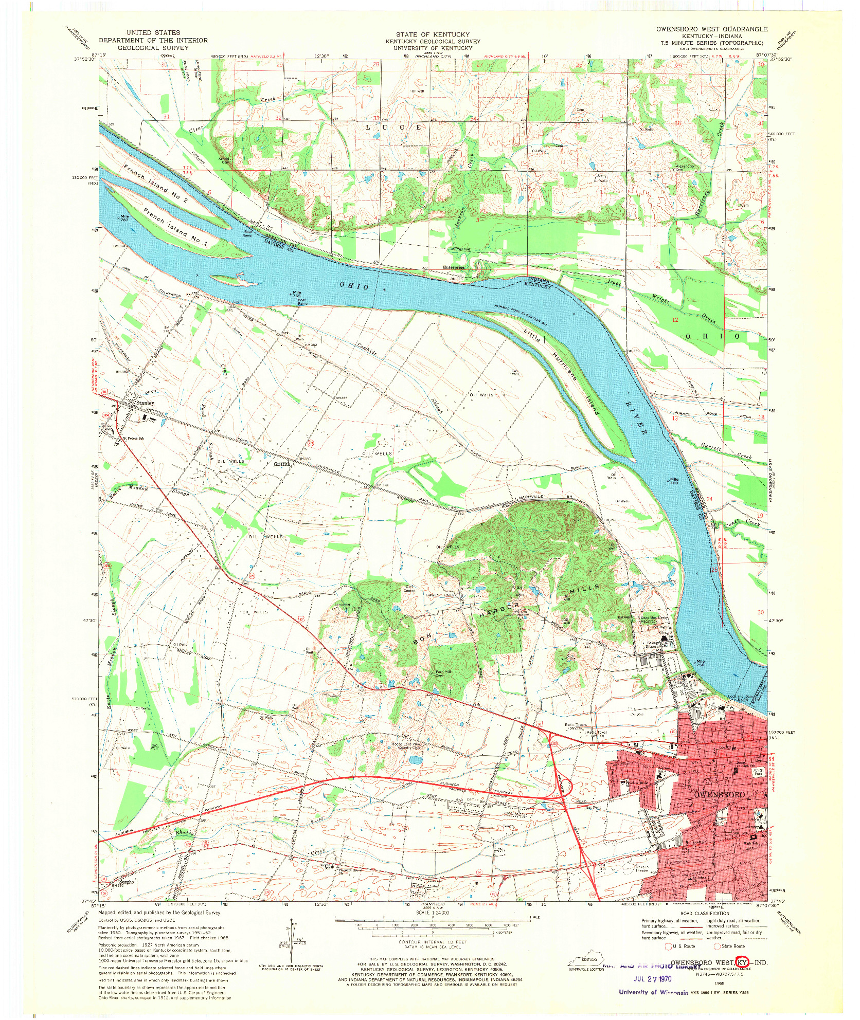 USGS 1:24000-SCALE QUADRANGLE FOR OWENSBORO WEST, KY 1968