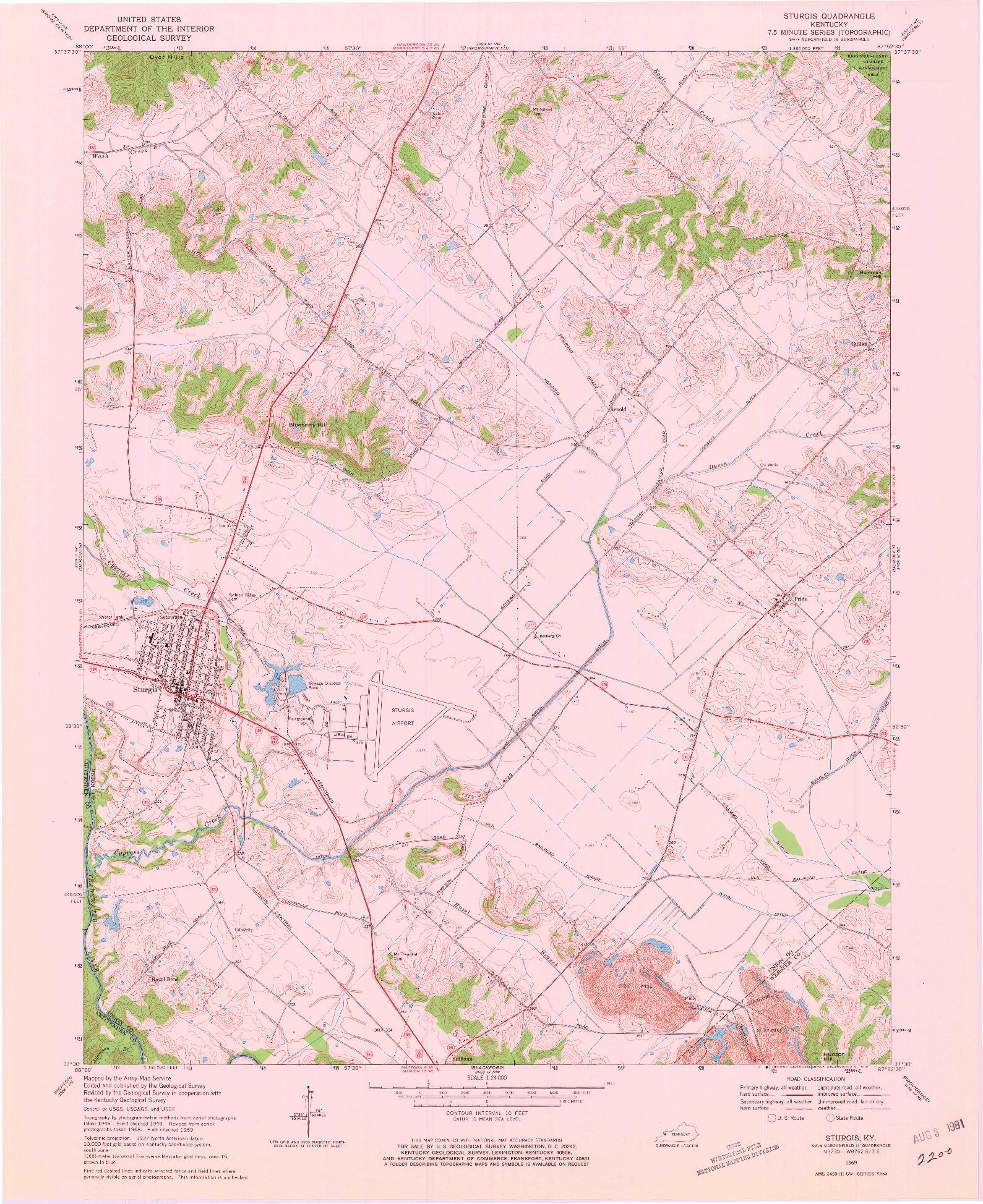 USGS 1:24000-SCALE QUADRANGLE FOR STURGIS, KY 1969