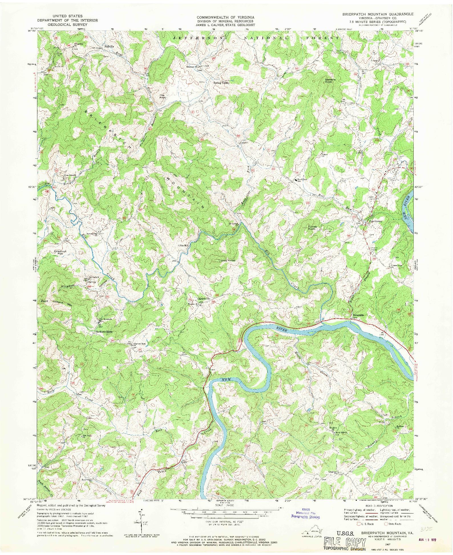 USGS 1:24000-SCALE QUADRANGLE FOR BRIERPATCH MOUNTAIN, VA 1967