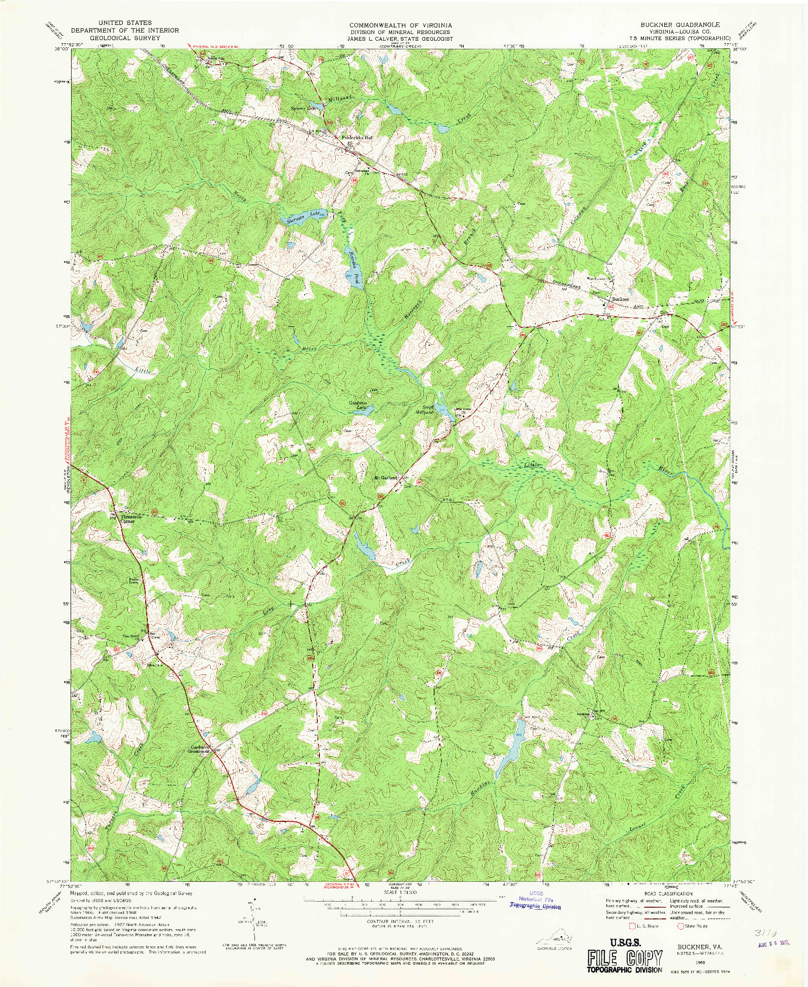 USGS 1:24000-SCALE QUADRANGLE FOR BUCKNER, VA 1968