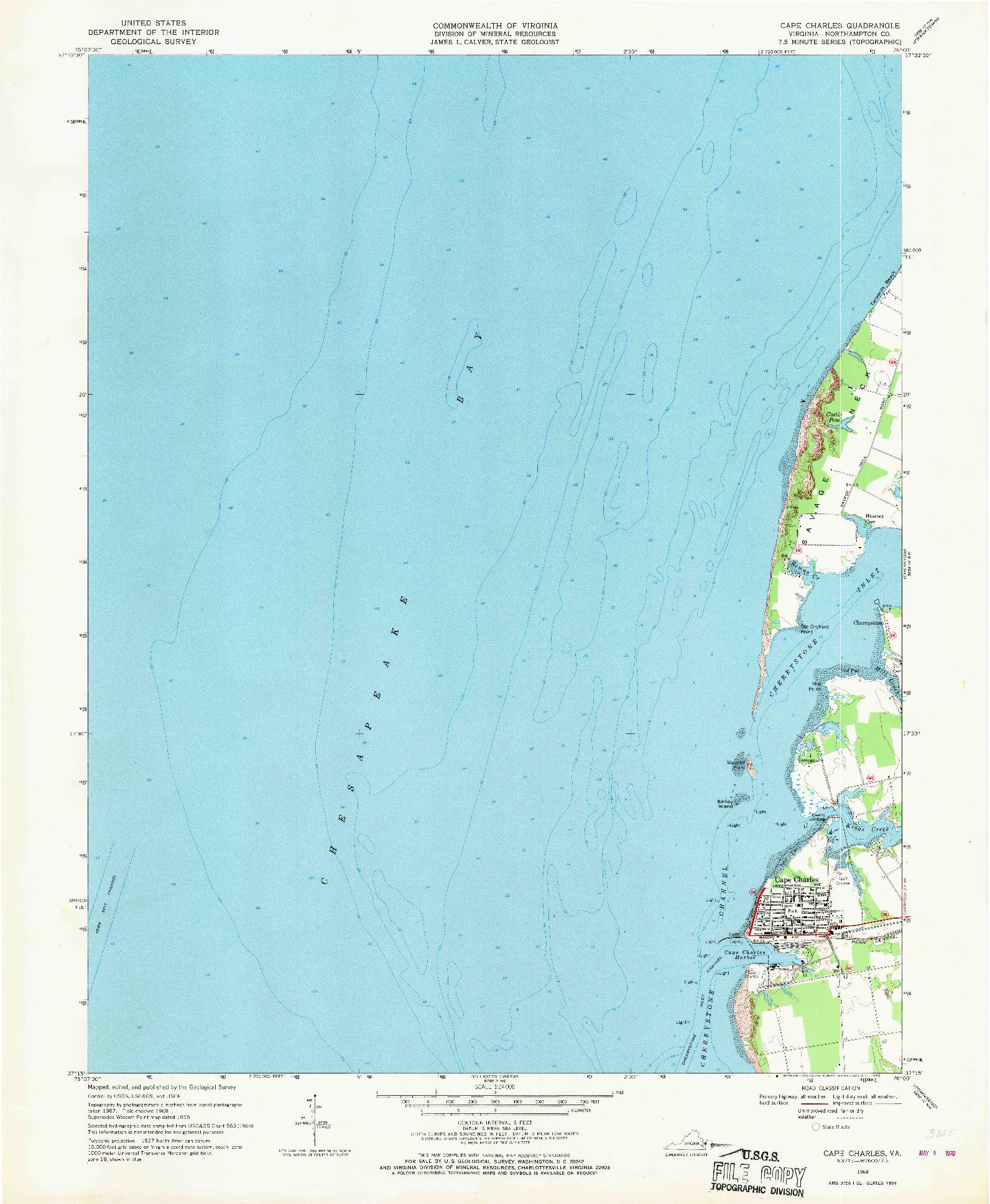 USGS 1:24000-SCALE QUADRANGLE FOR CAPE CHARLES, VA 1968