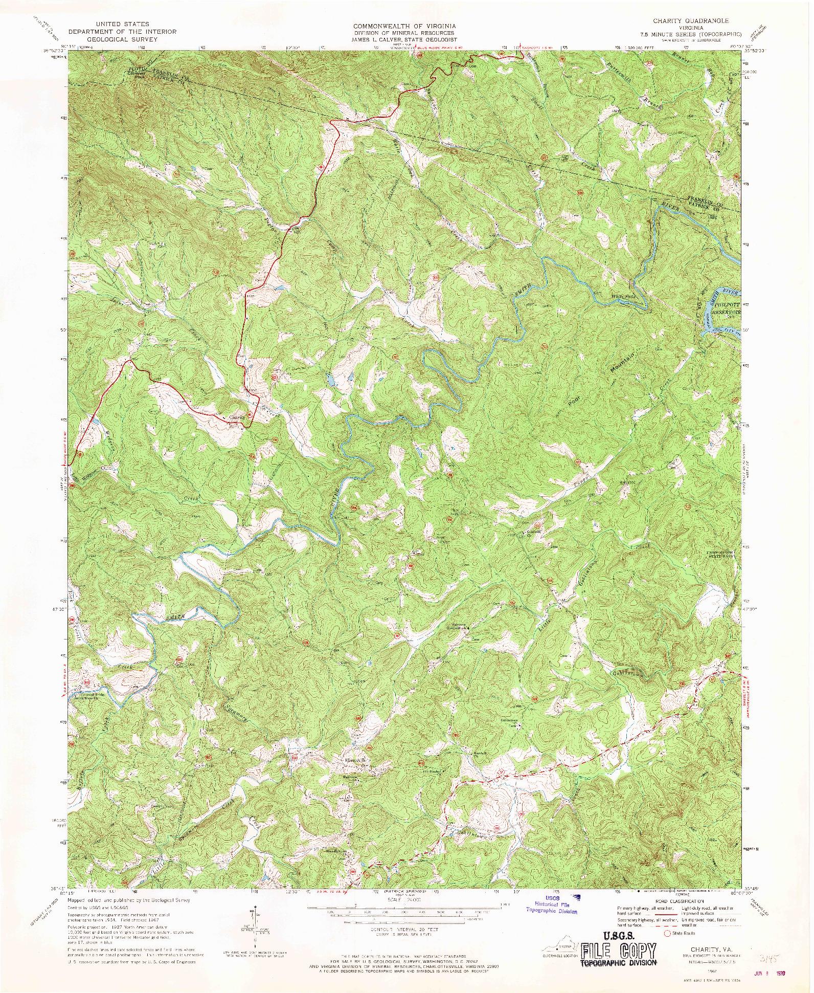 USGS 1:24000-SCALE QUADRANGLE FOR CHARITY, VA 1967