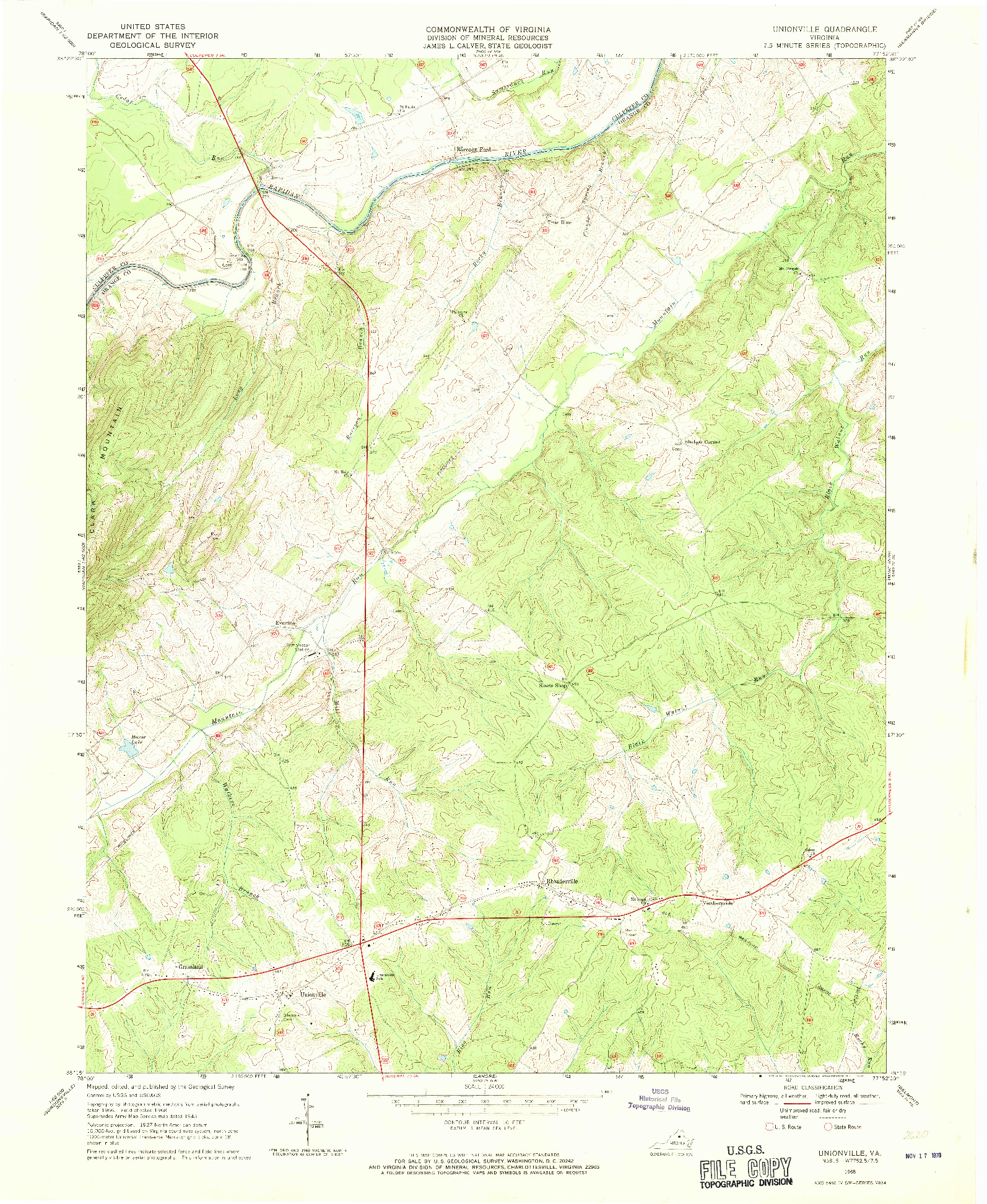 USGS 1:24000-SCALE QUADRANGLE FOR UNIONVILLE, VA 1968