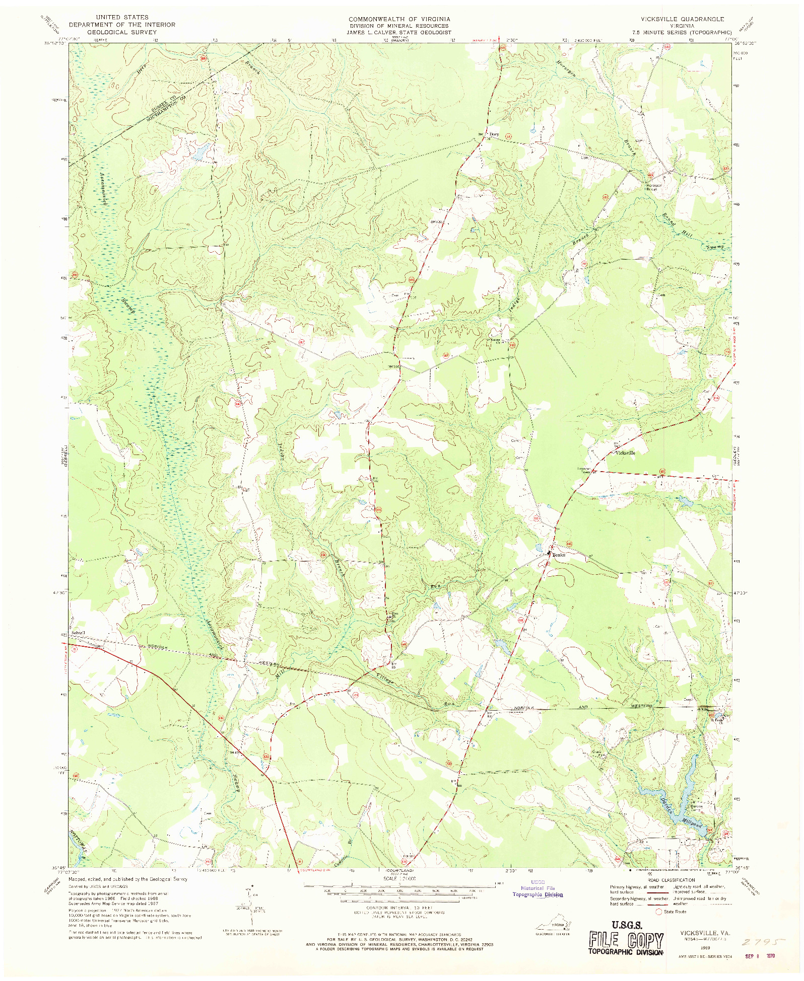 USGS 1:24000-SCALE QUADRANGLE FOR VICKSVILLE, VA 1969