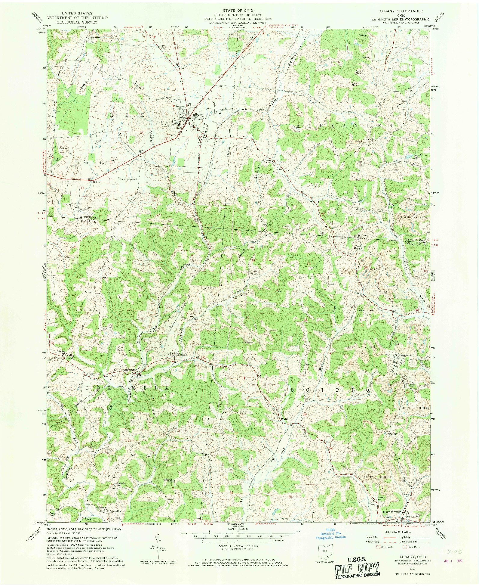 USGS 1:24000-SCALE QUADRANGLE FOR ALBANY, OH 1960
